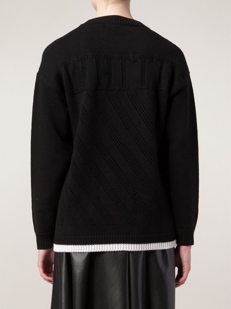 Off-white c/o virgil abloh Diagonals Pullover Sweater in Black | Lyst