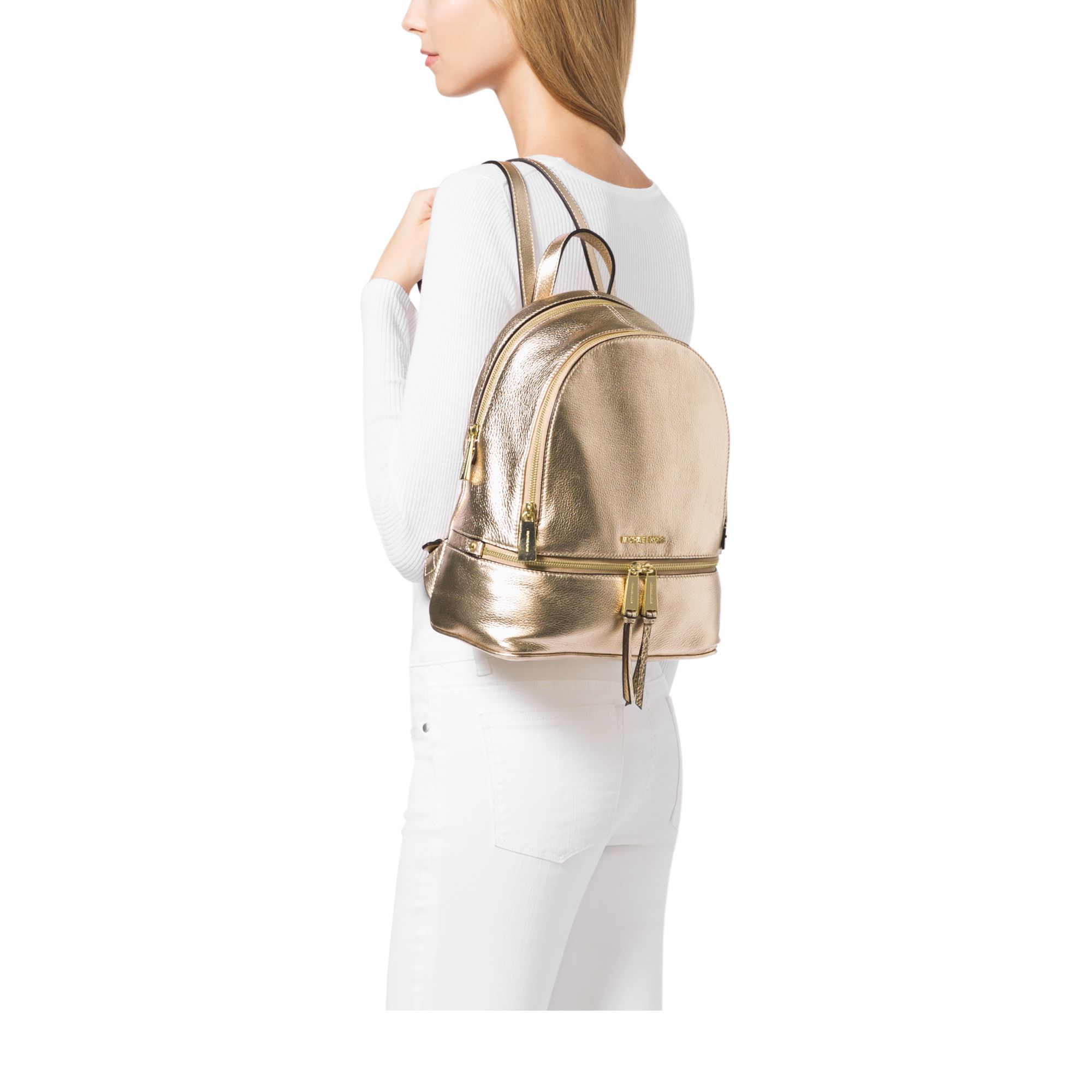 ef24ffc18838 Lyst - Michael Kors Rhea Metallic Medium Backpack in Metallic