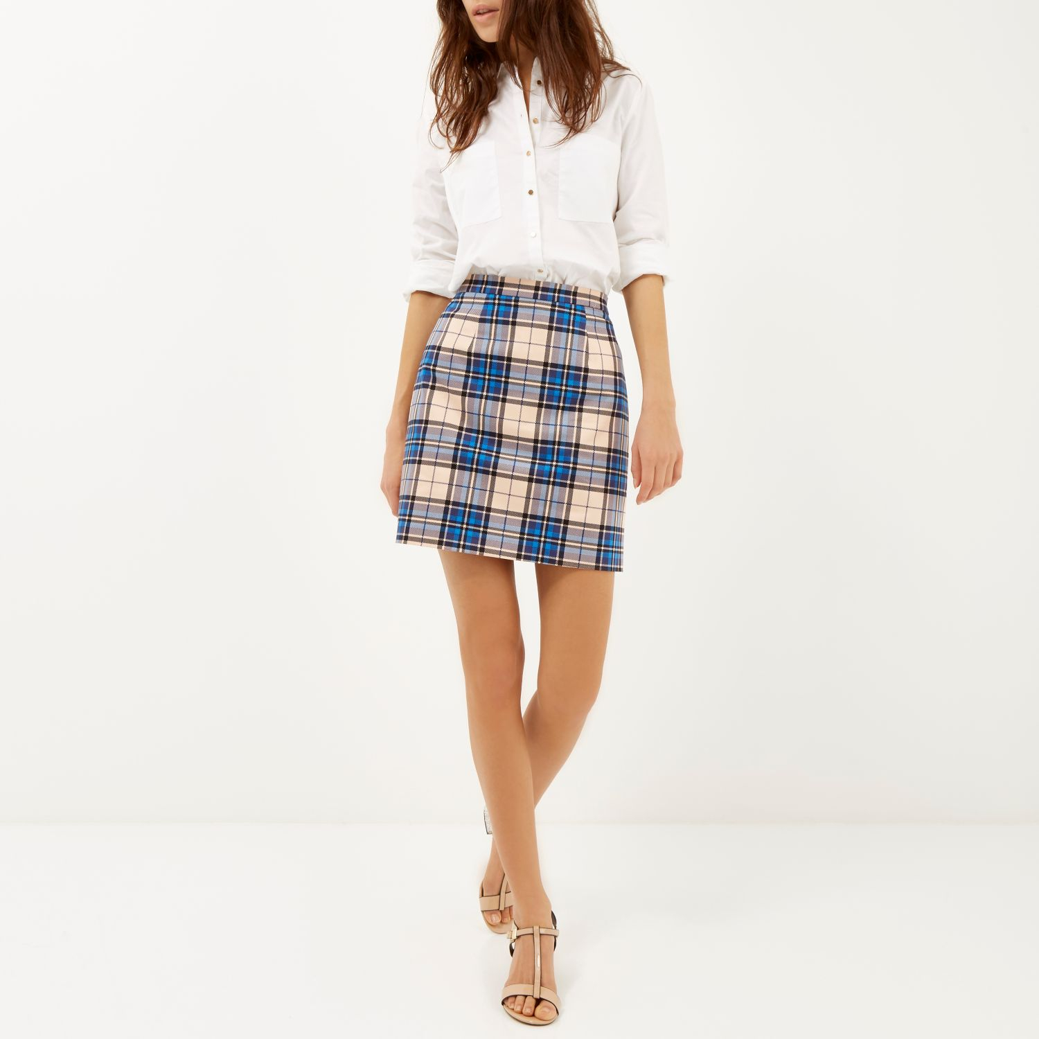 River island Blue Check A-line Skirt in Blue | Lyst