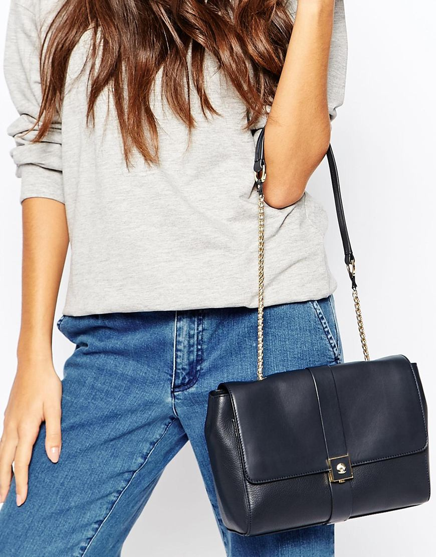 Modalu Small Leather Flap Over Shoulder Bag in Blue | Lyst