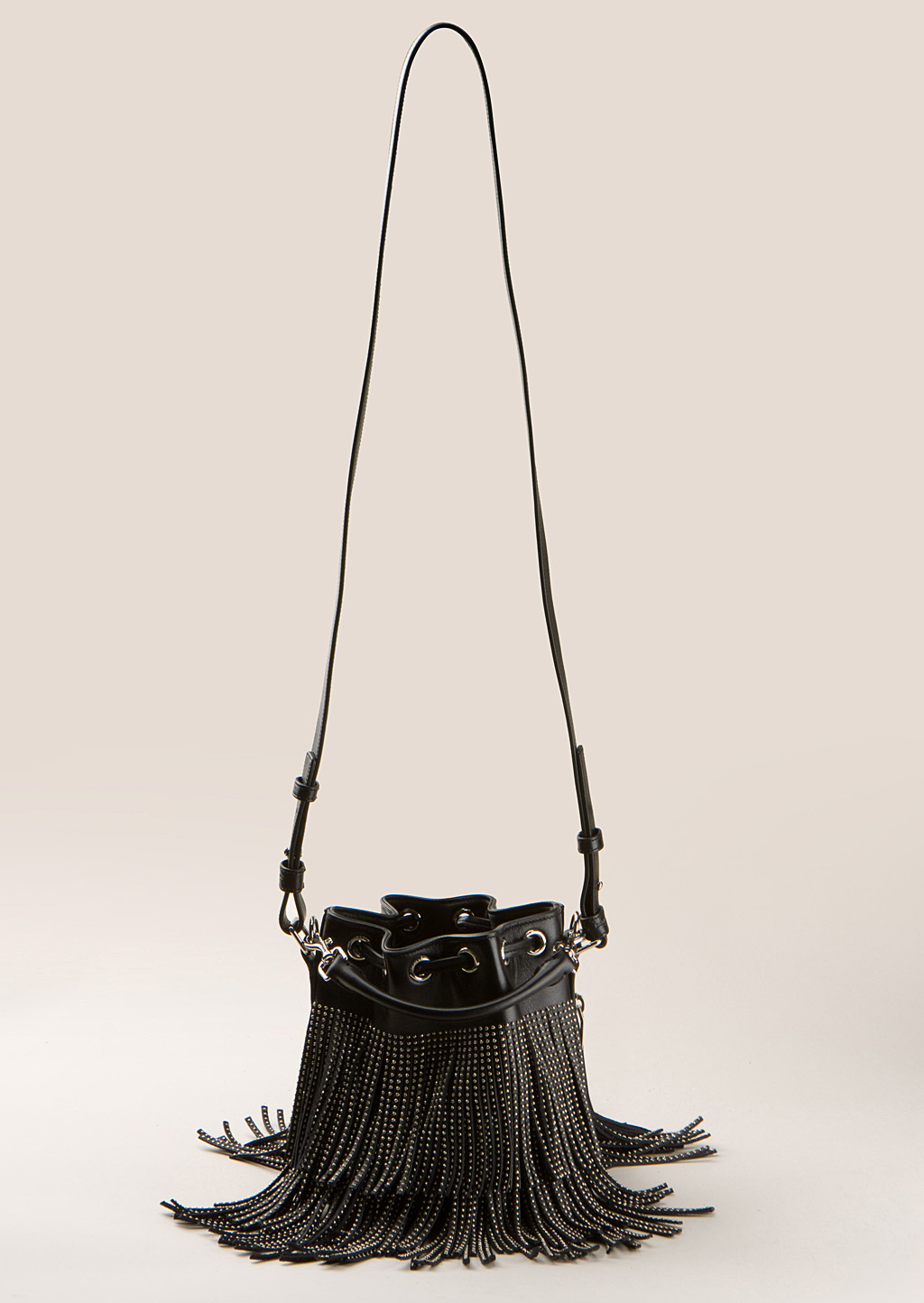 Saint laurent Small Seau Studded Bucket Bag With Fringe in Black . 6113fb1784