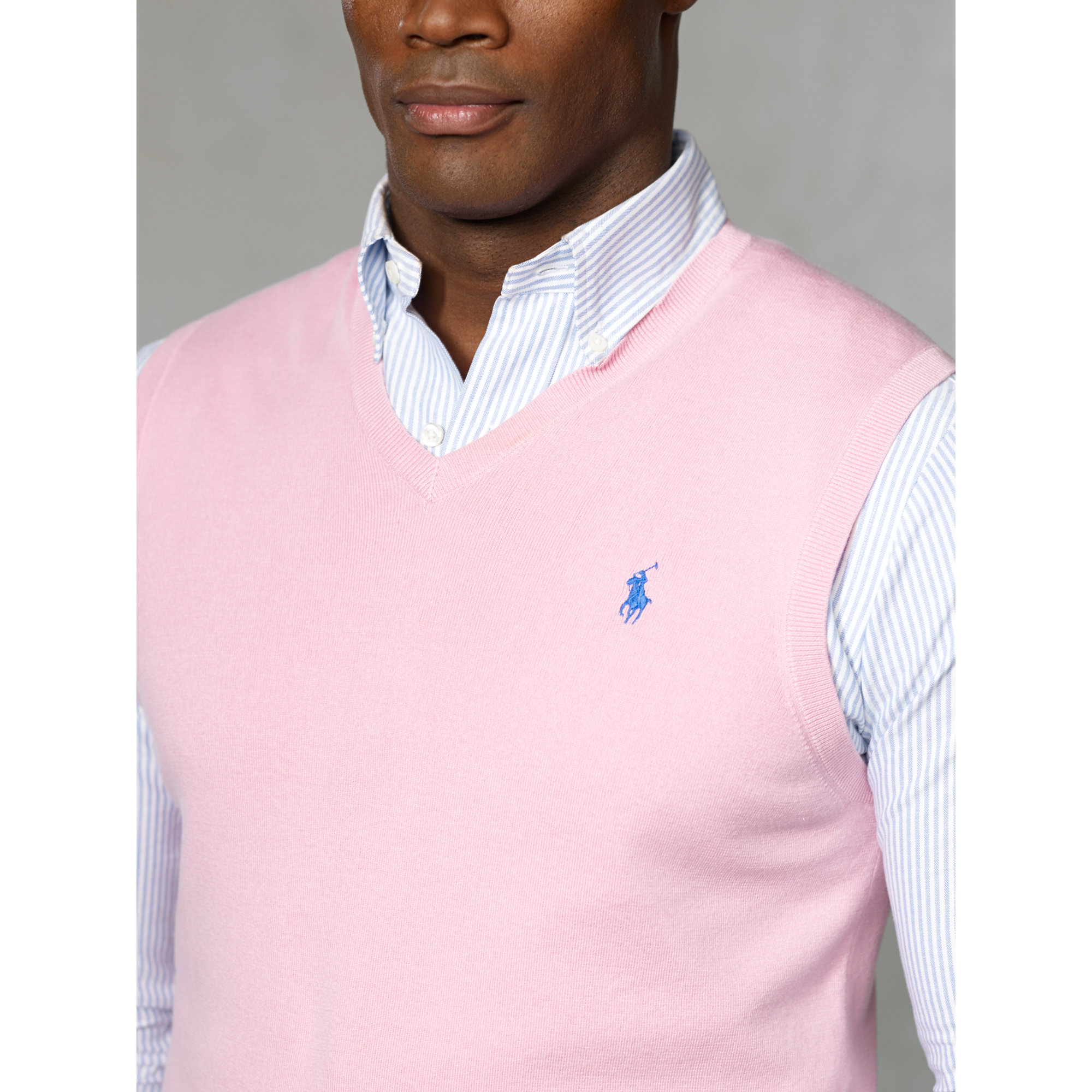 Polo ralph lauren Pima Cotton V-neck Vest in Pink for Men | Lyst