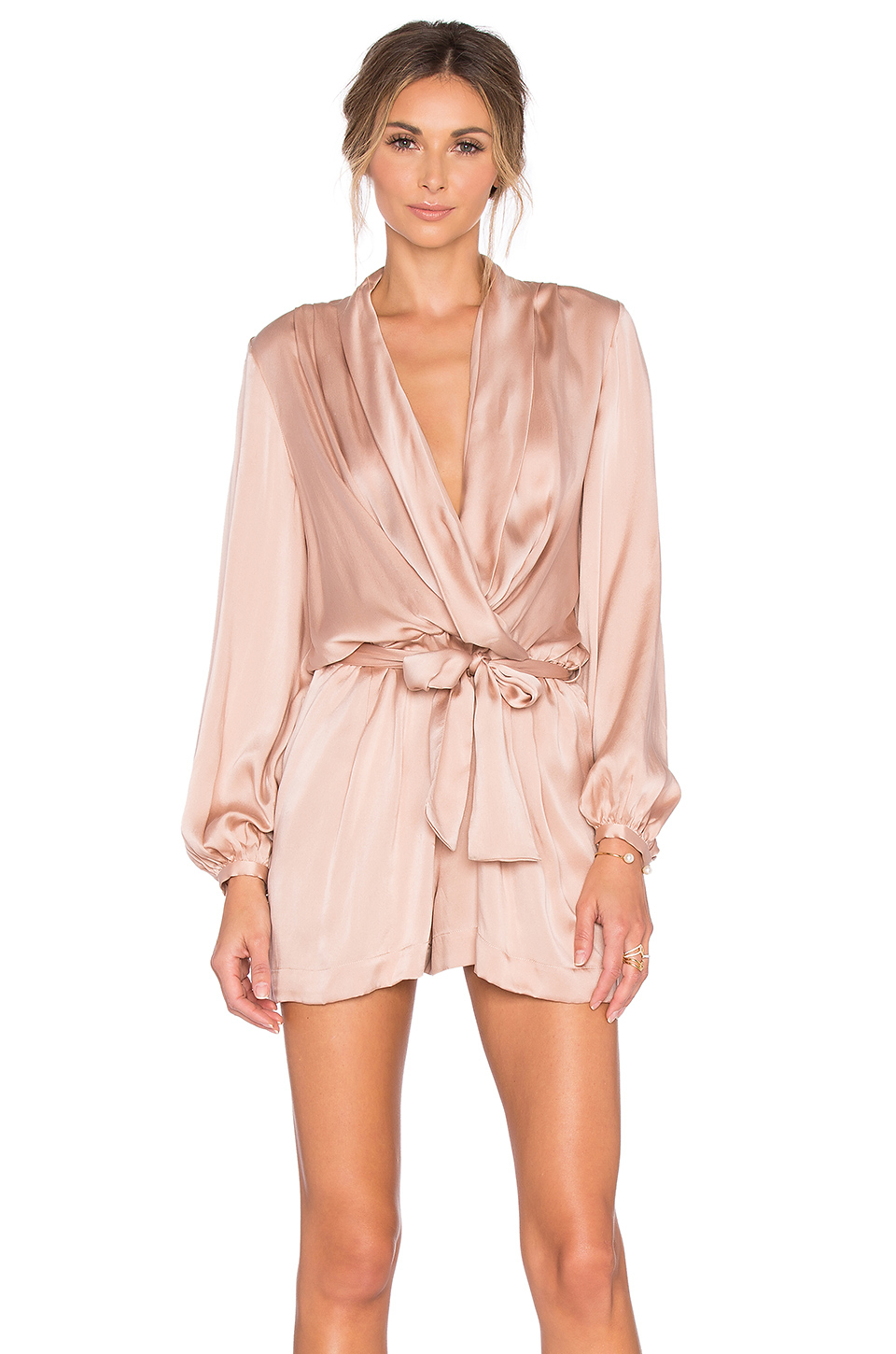 5a133c27500 Lyst - Zimmermann Sueded Silk Wrap Playsuit in Pink