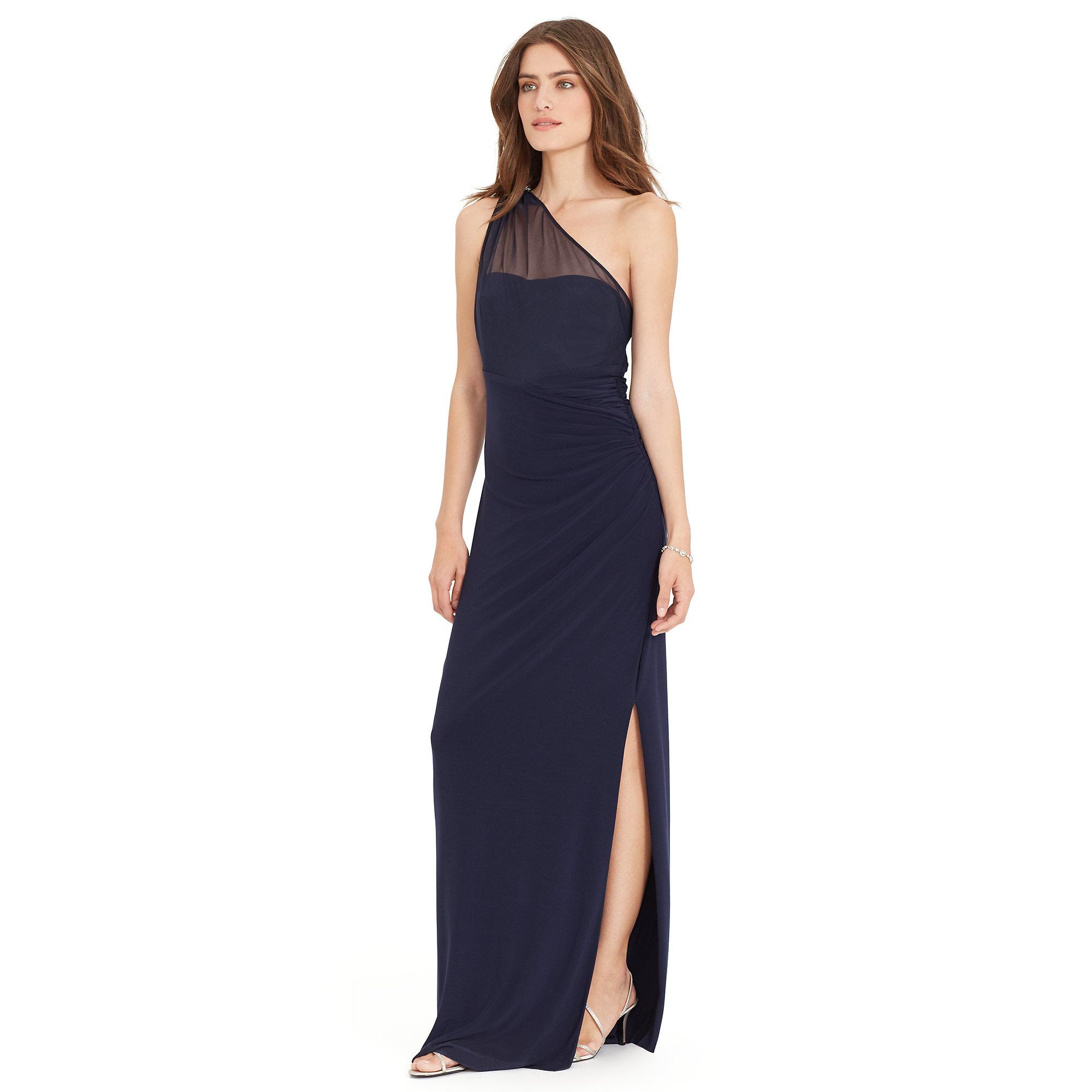 Ralph lauren One-shoulder Jersey Gown in Blue | Lyst