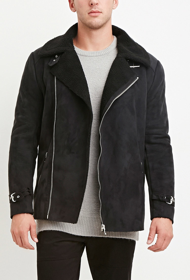 Lyst Forever 21 Faux Shearling Lined Moto Jacket In Black For Men