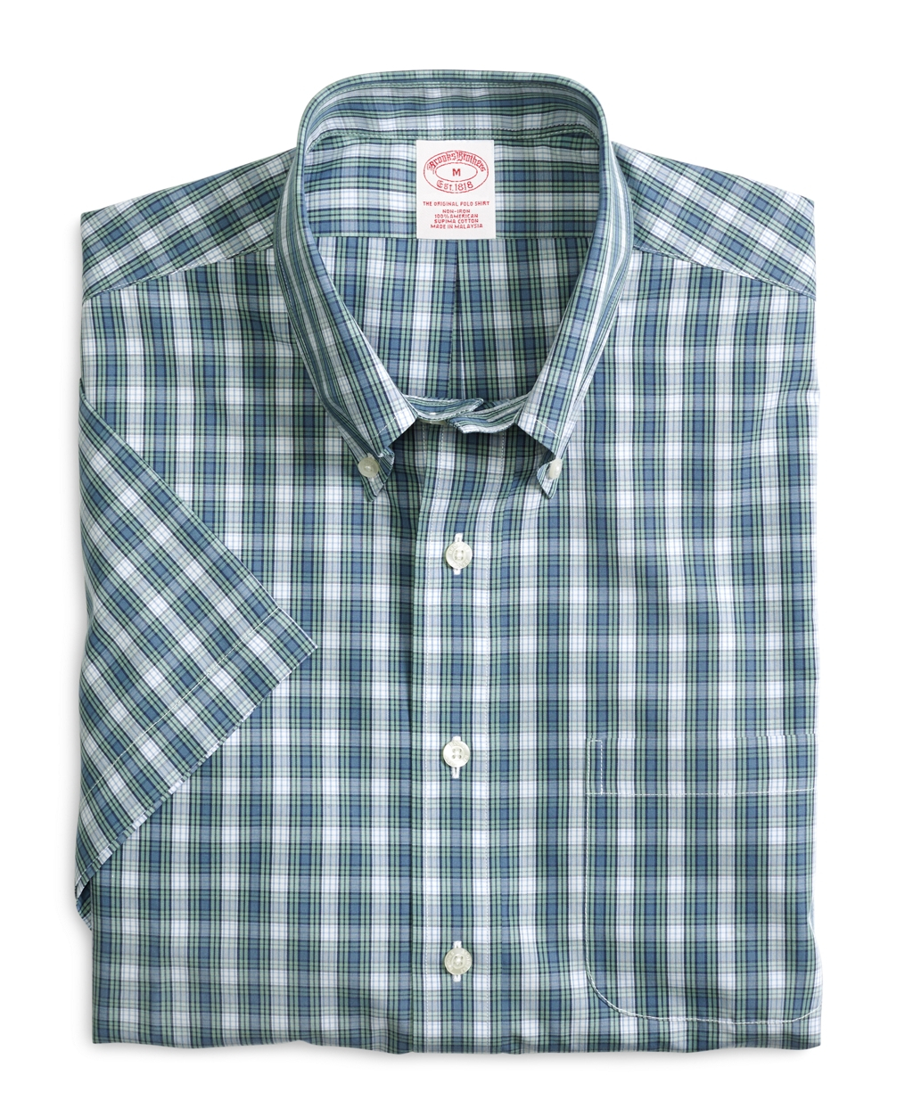 Brooks brothers non iron slim fit check short sleeve sport for Brooks brothers non iron shirts review