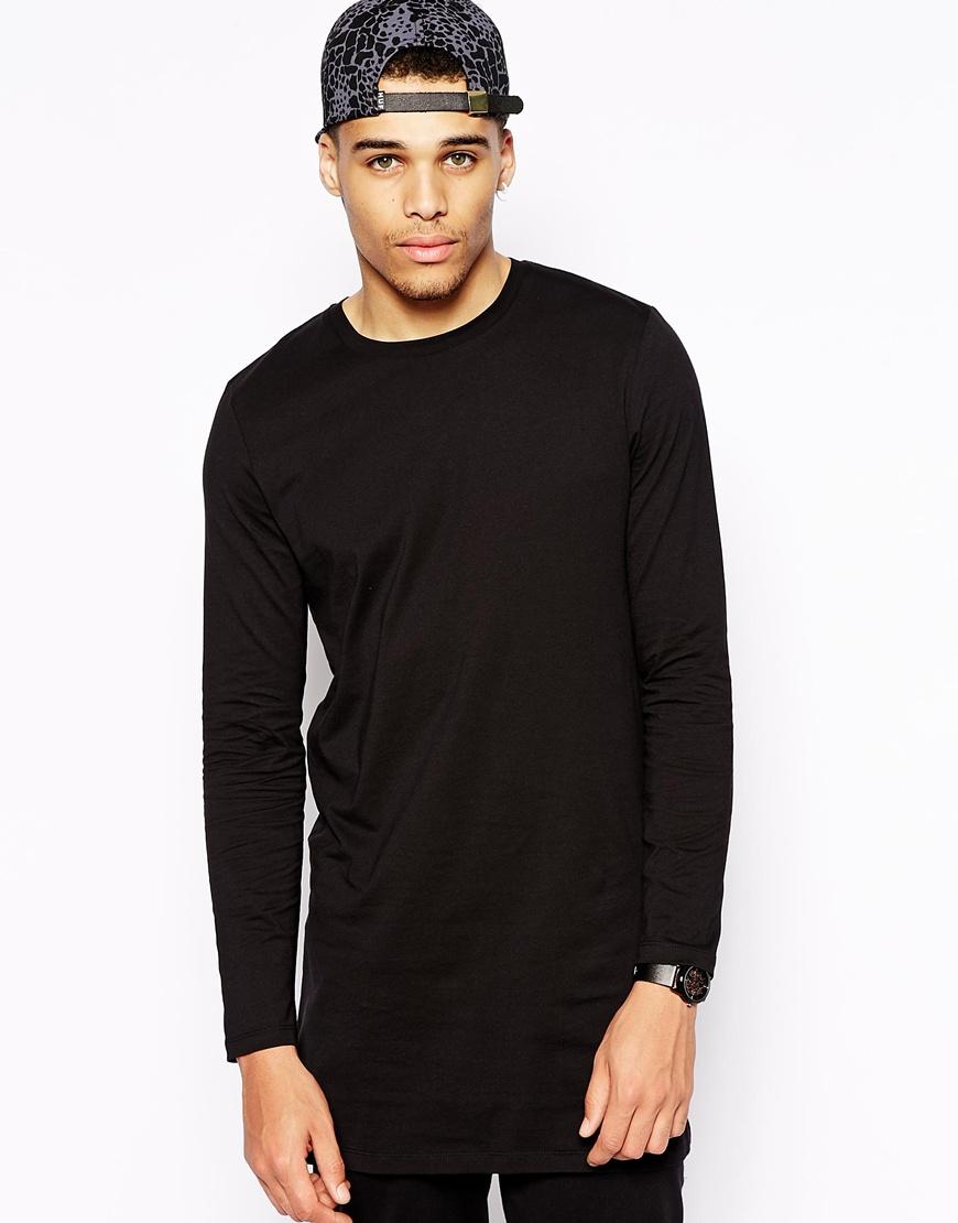 asos long sleeve t shirt in super longline in black for. Black Bedroom Furniture Sets. Home Design Ideas
