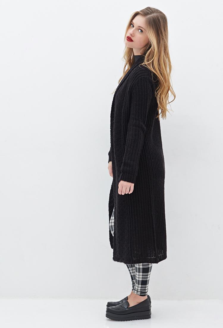 Forever 21 Shawl Collar Maxi Cardigan in Black | Lyst