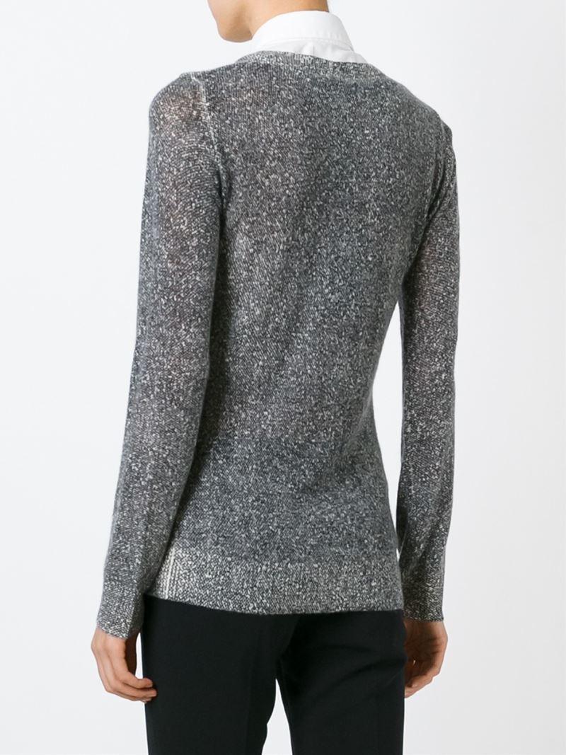emporio armani fine knit sweater in gray lyst. Black Bedroom Furniture Sets. Home Design Ideas