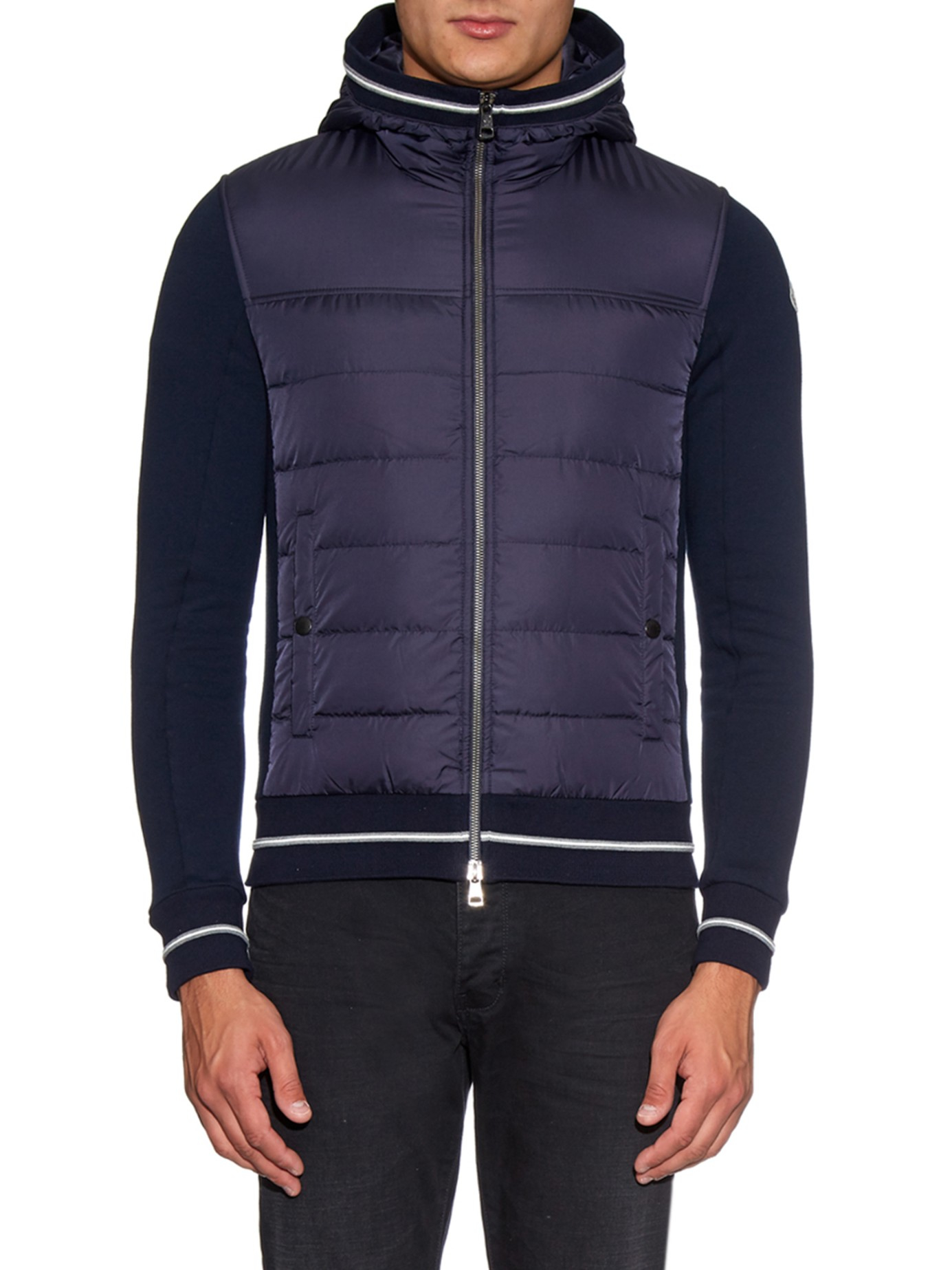 Lyst Moncler Maglia Quilted Down Hooded Sweater In Blue