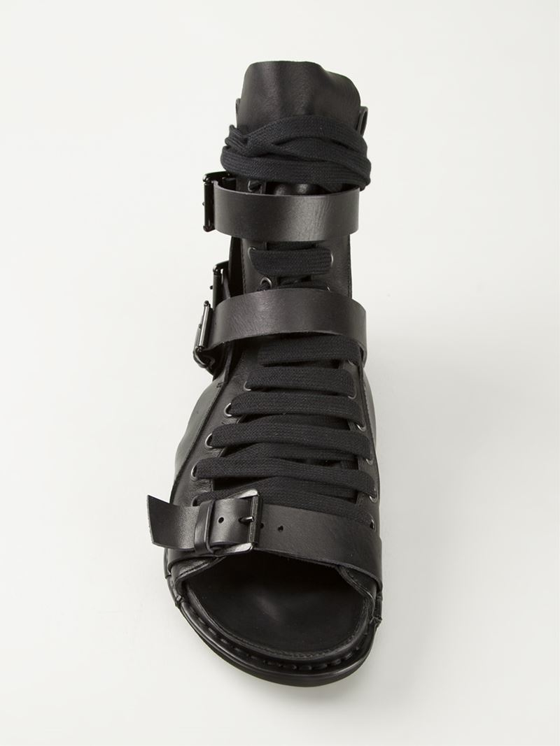 Lyst Ann for in Sandals Lace Gladiator Up Black Men Demeulemeester 34RAjL5