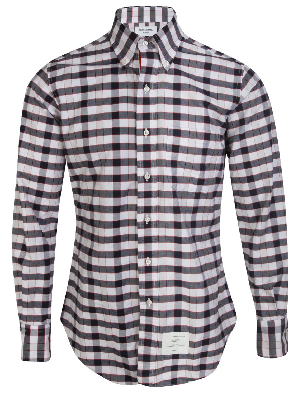 Thom browne blue red white check button down collar for White button down oxford shirt