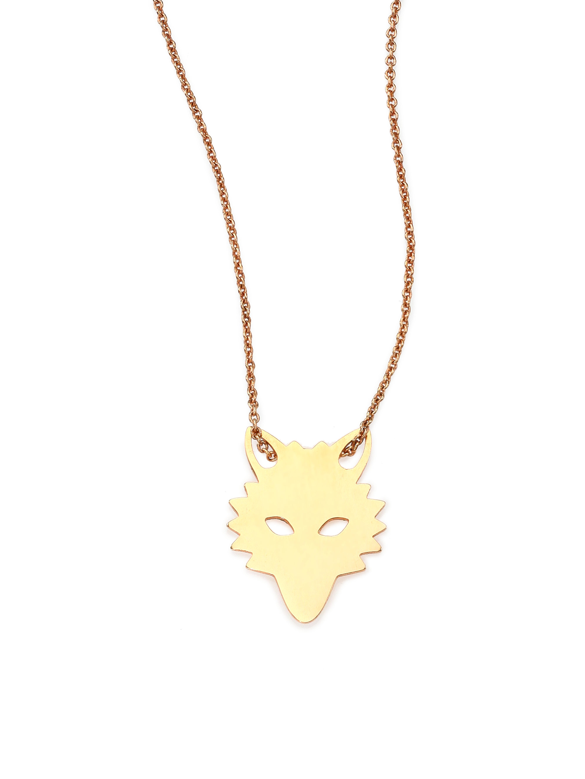 ginette ny wolf 18k gold pendant necklace in pink lyst
