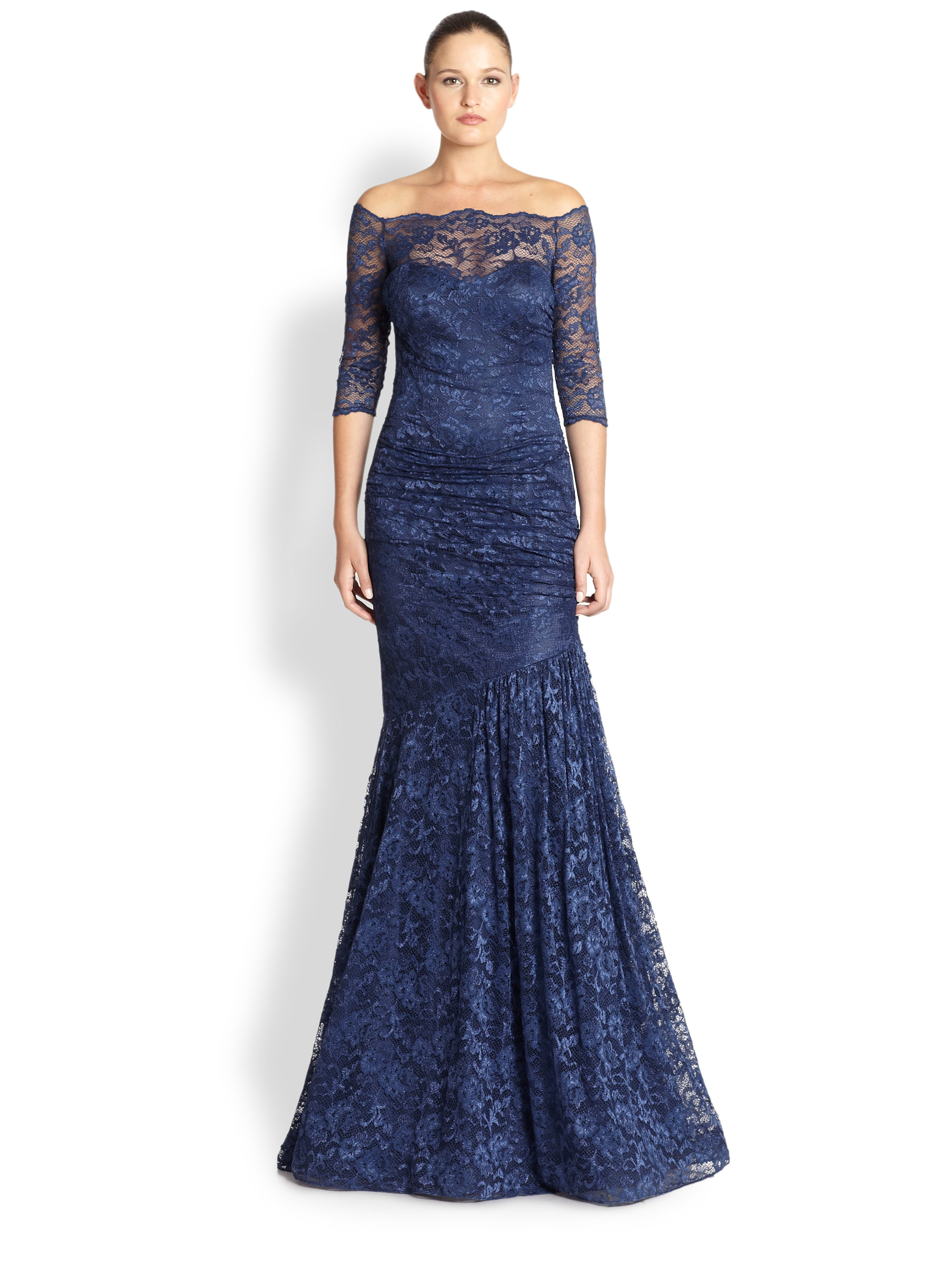 Teri Jon Lace Off Shoulder Gown In Blue Lyst