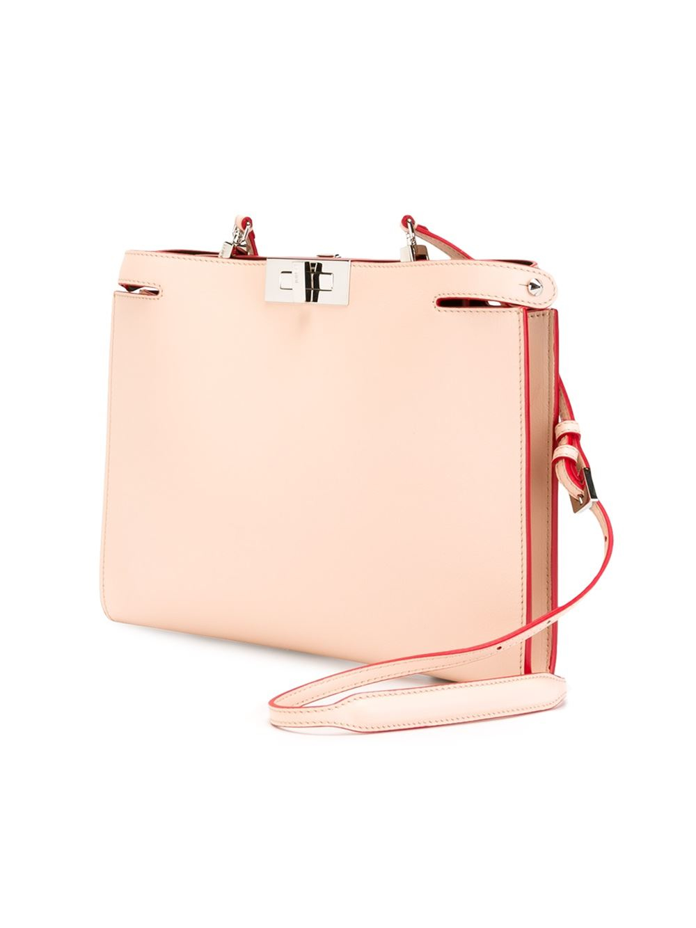 Fendi Flat Leather Shoulder Bag in Pink | Lyst