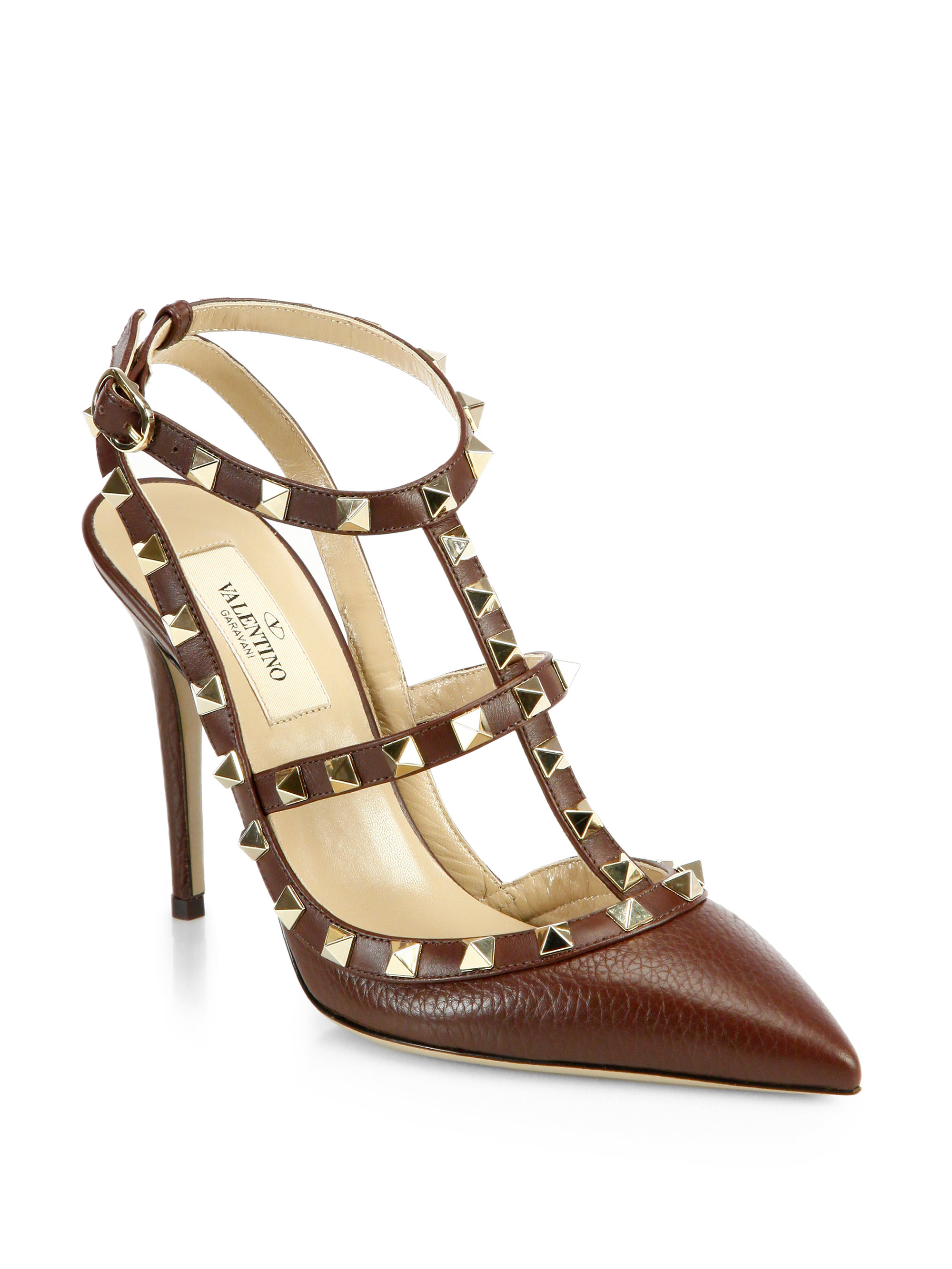 valentino rockstud leather slingback pumps in brown. Black Bedroom Furniture Sets. Home Design Ideas