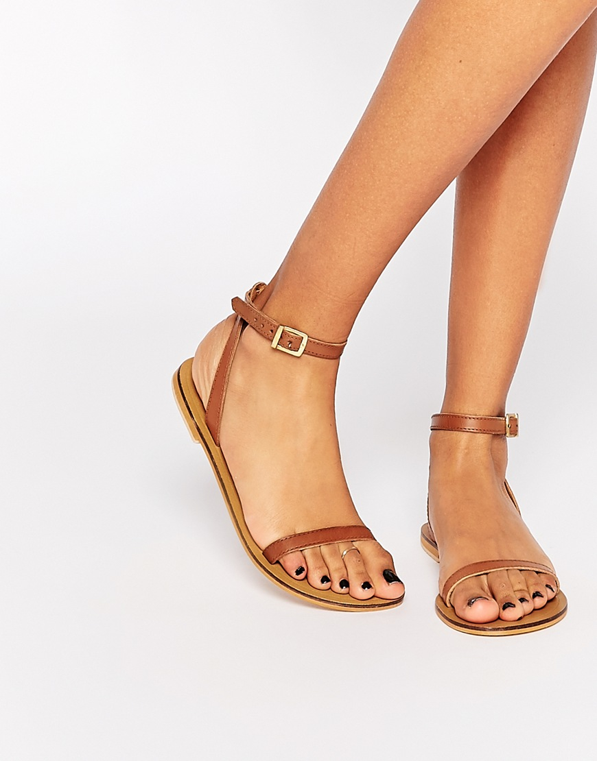 Asos Finlay Leather Flat Sandals Tan In Brown Lyst