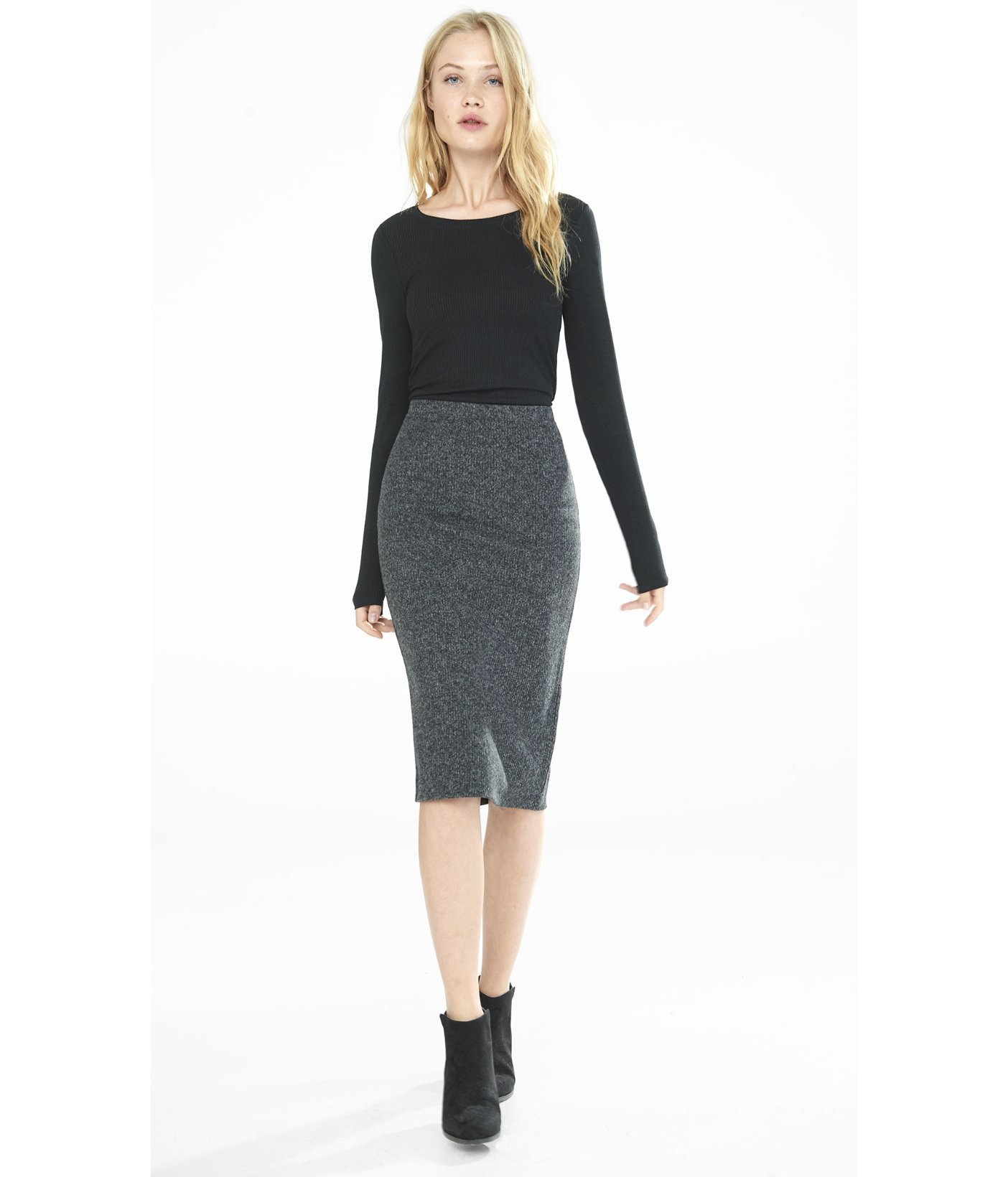 Express High Waisted Plush Jersey Pencil Skirt in Gray | Lyst