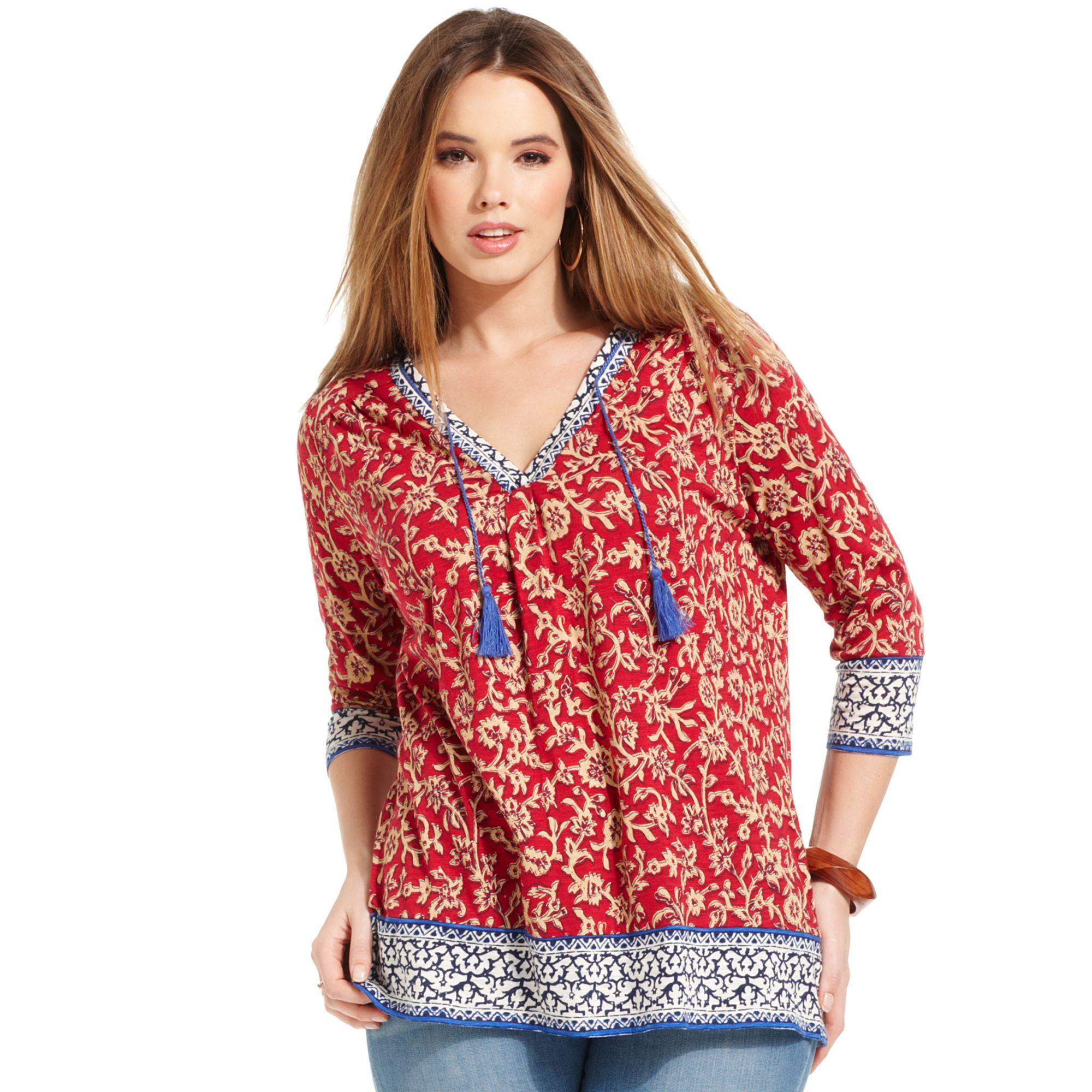 Lucky brand Plus Paisley Print Top in Red | Lyst