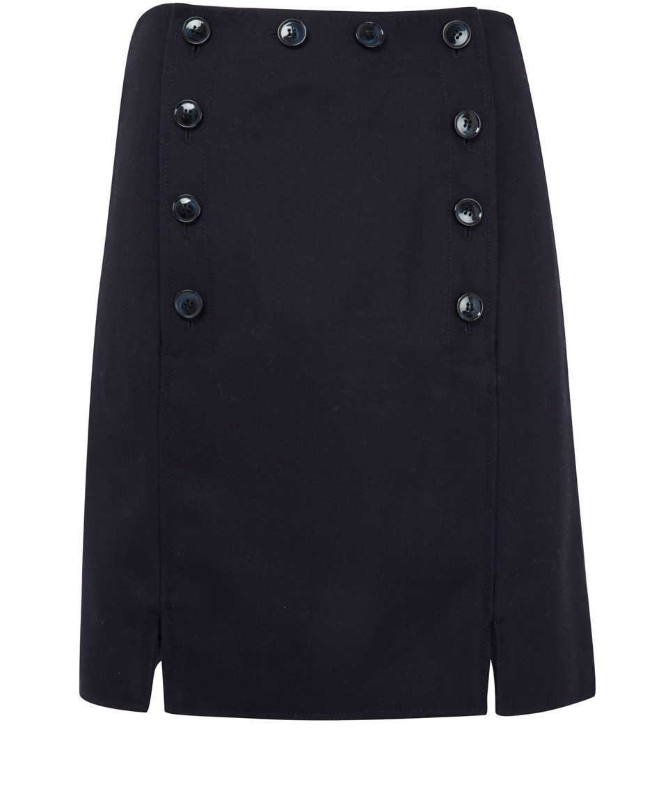 Ymc Navy Button Detail A-line Skirt in Blue | Lyst