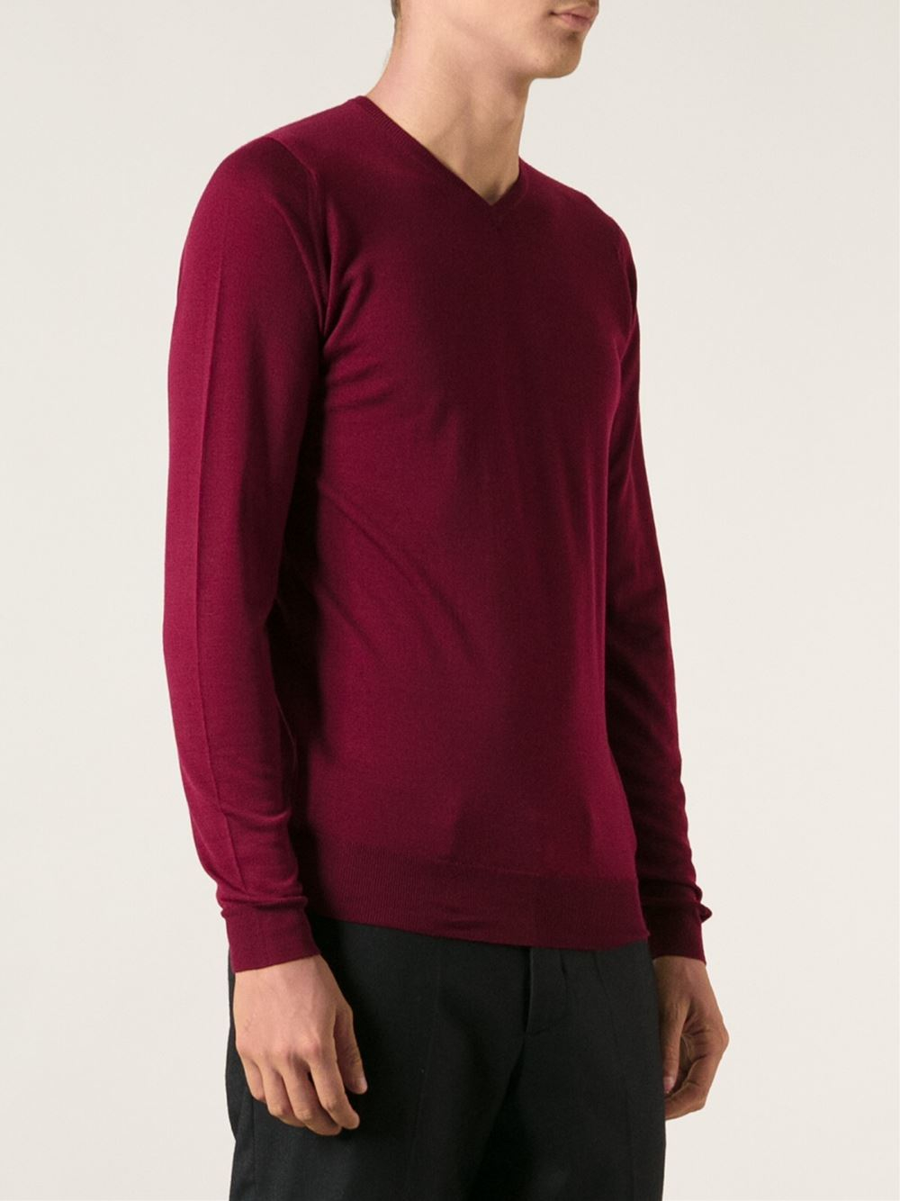 John smedley Fitted Sweater in Red for Men | Lyst