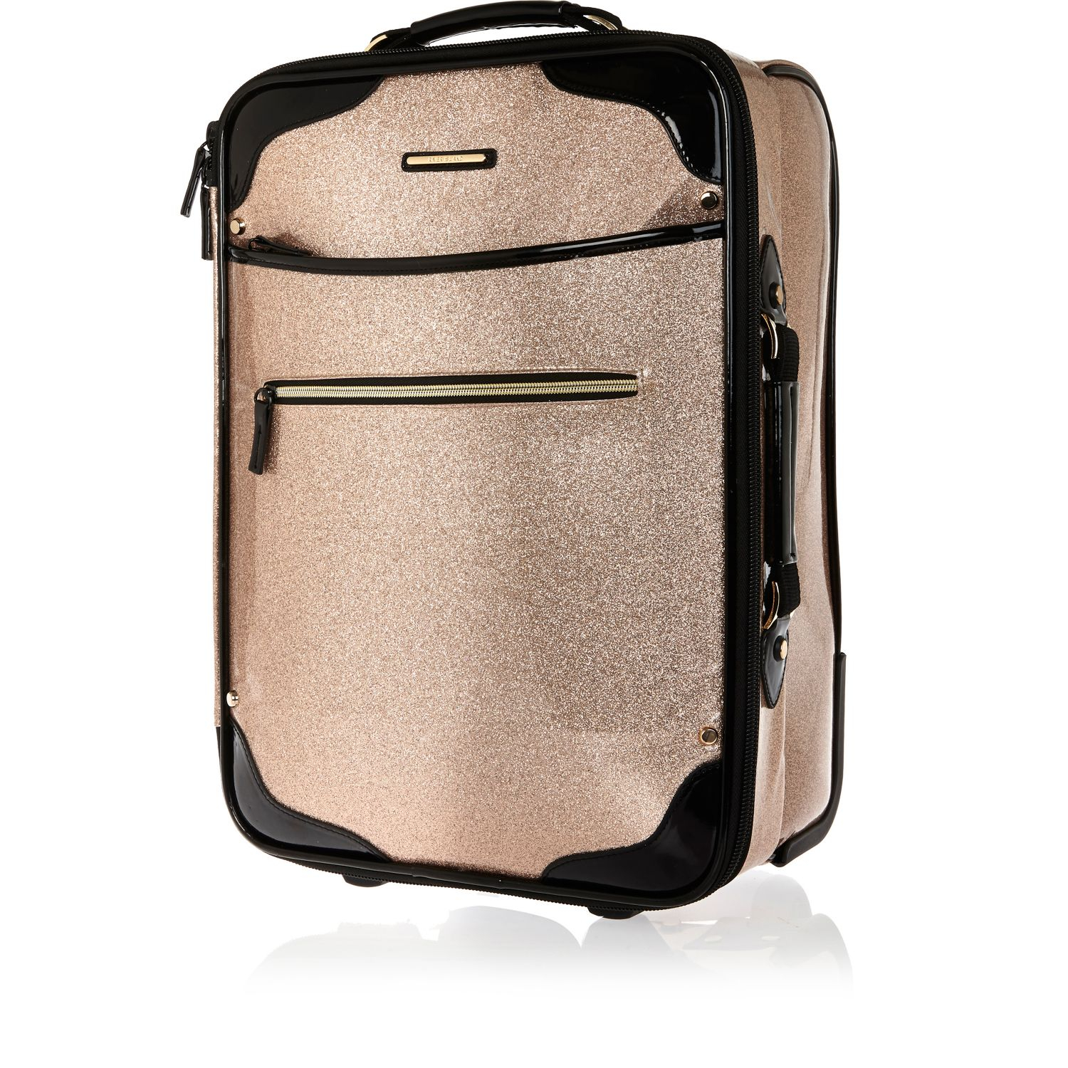 River island Pink Glitter Suitcase in Pink | Lyst