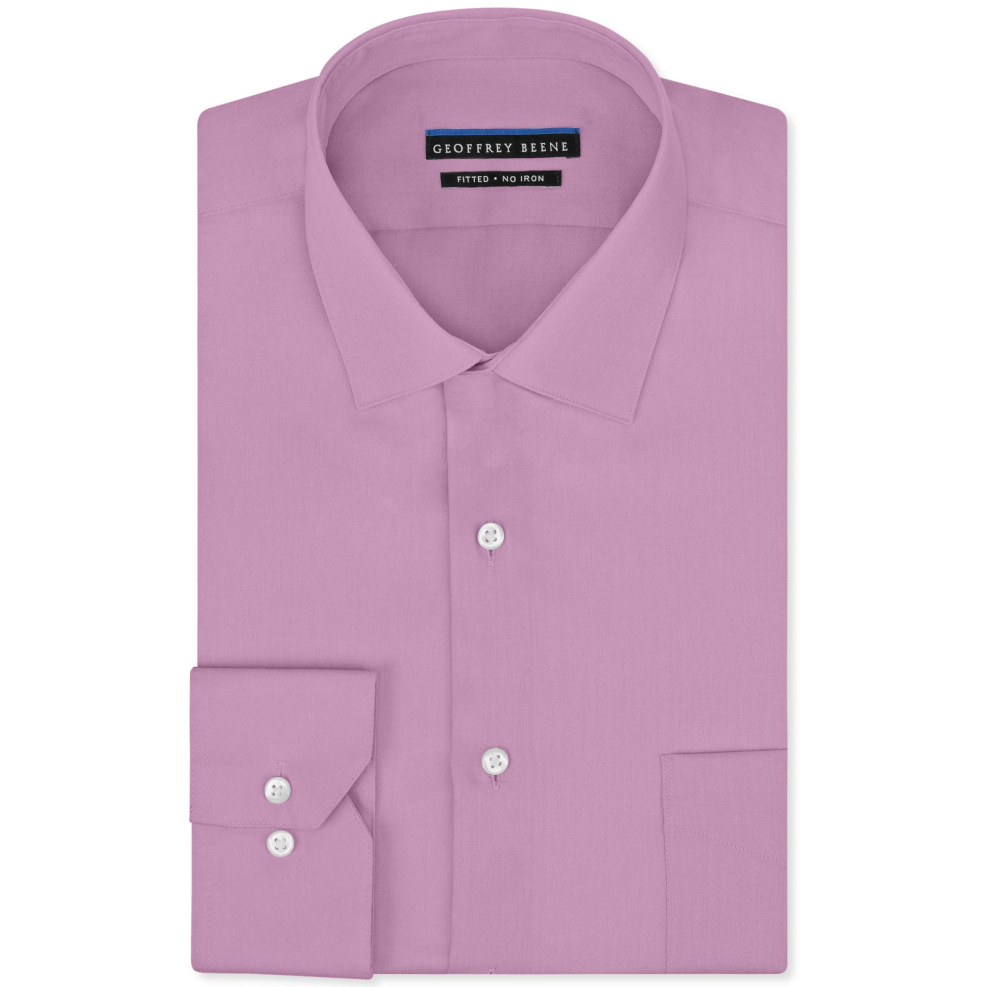 Geoffrey beene no iron sateen solid dress shirt in pink for No iron shirts mens