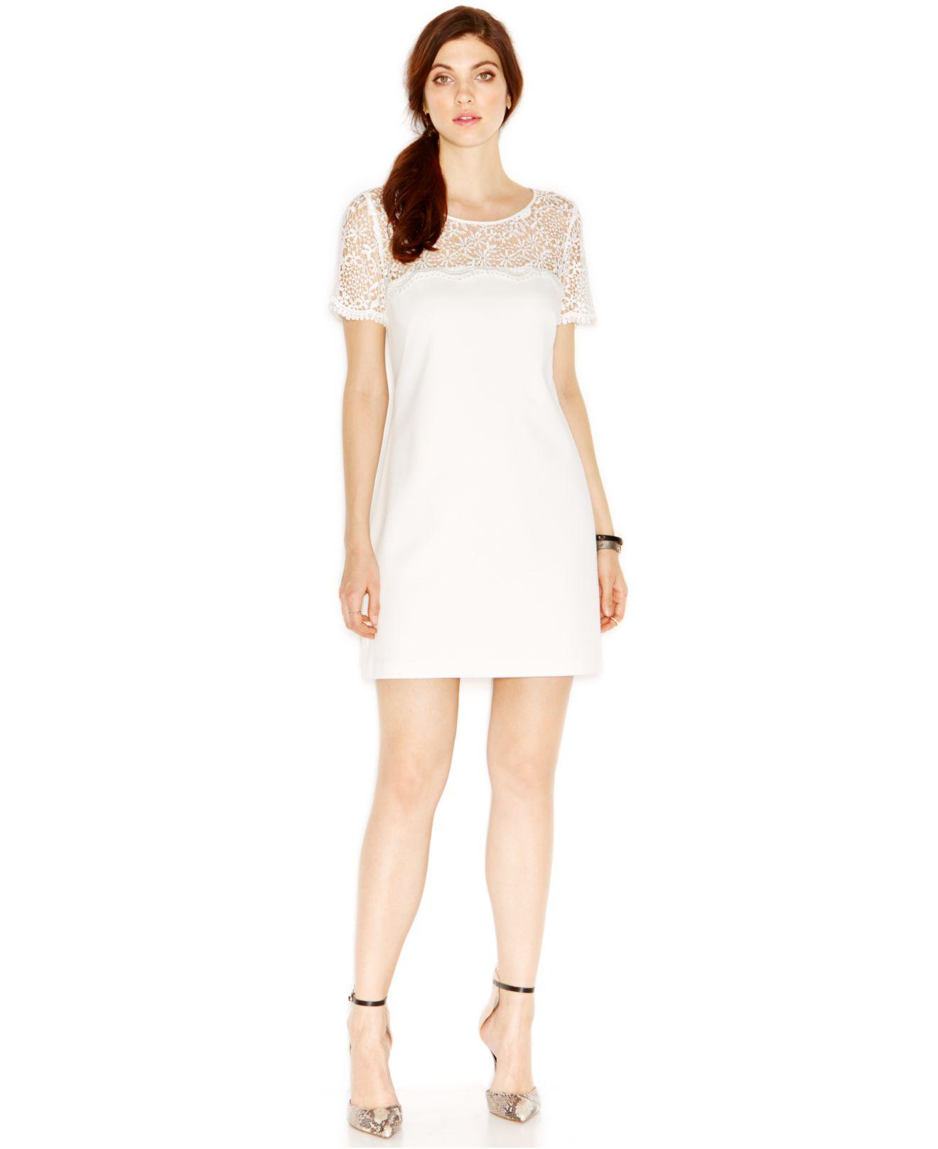 Lyst Jessica Simpson Crochet Yoke Sheath Dress In White