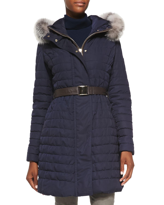 Gorski Apres Ski Fur Trim Belted Jacket In Blue Lyst