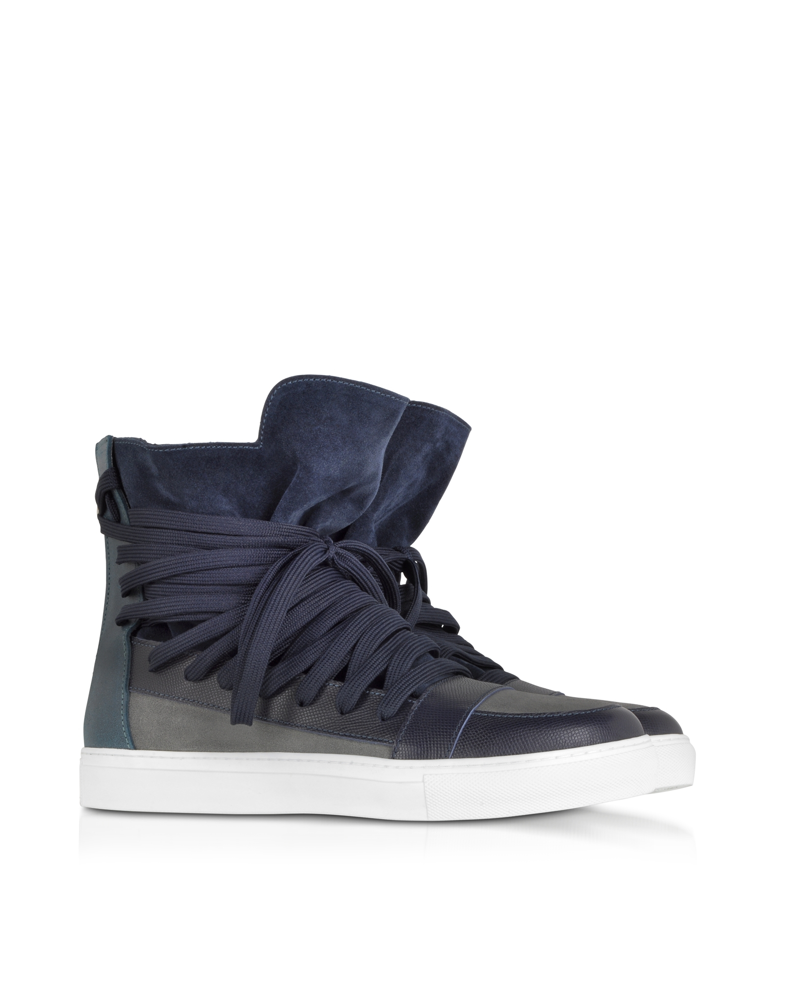 edf152cc70 Lyst - Kris Van Assche Multi Blue Multilaces High Top Sneaker in ...