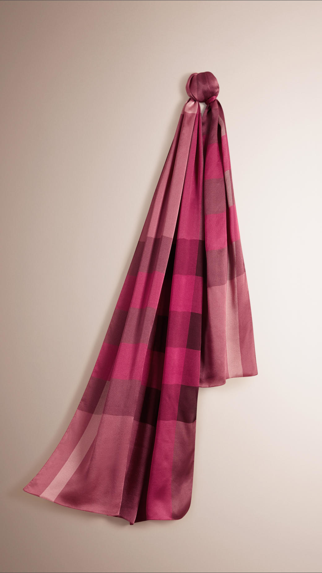 1f257d0099c5 Lyst - Burberry Check Silk Satin Scarf in Pink