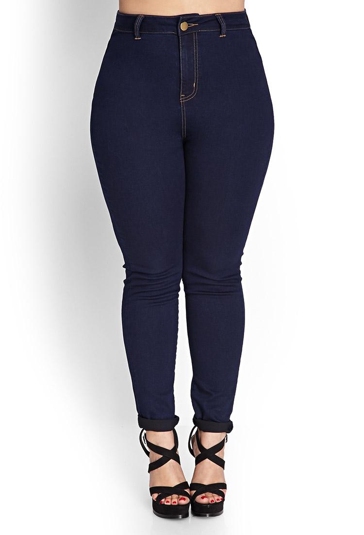 forever 21 high waisted skinny jeans short in blue indigo lyst. Black Bedroom Furniture Sets. Home Design Ideas