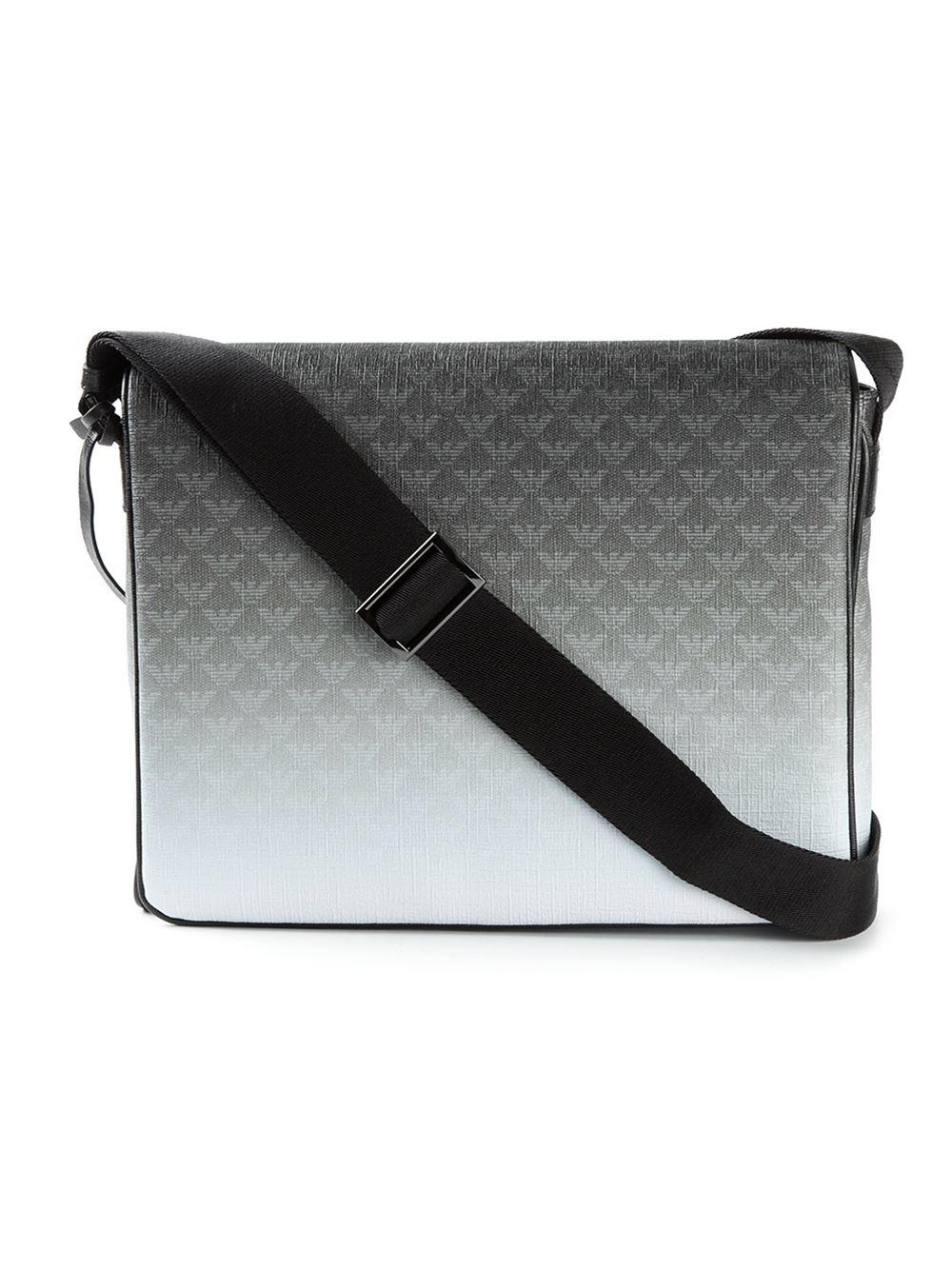 381911120d95 Emporio Armani Logo Print Messenger Bag in Gray for Men - Lyst