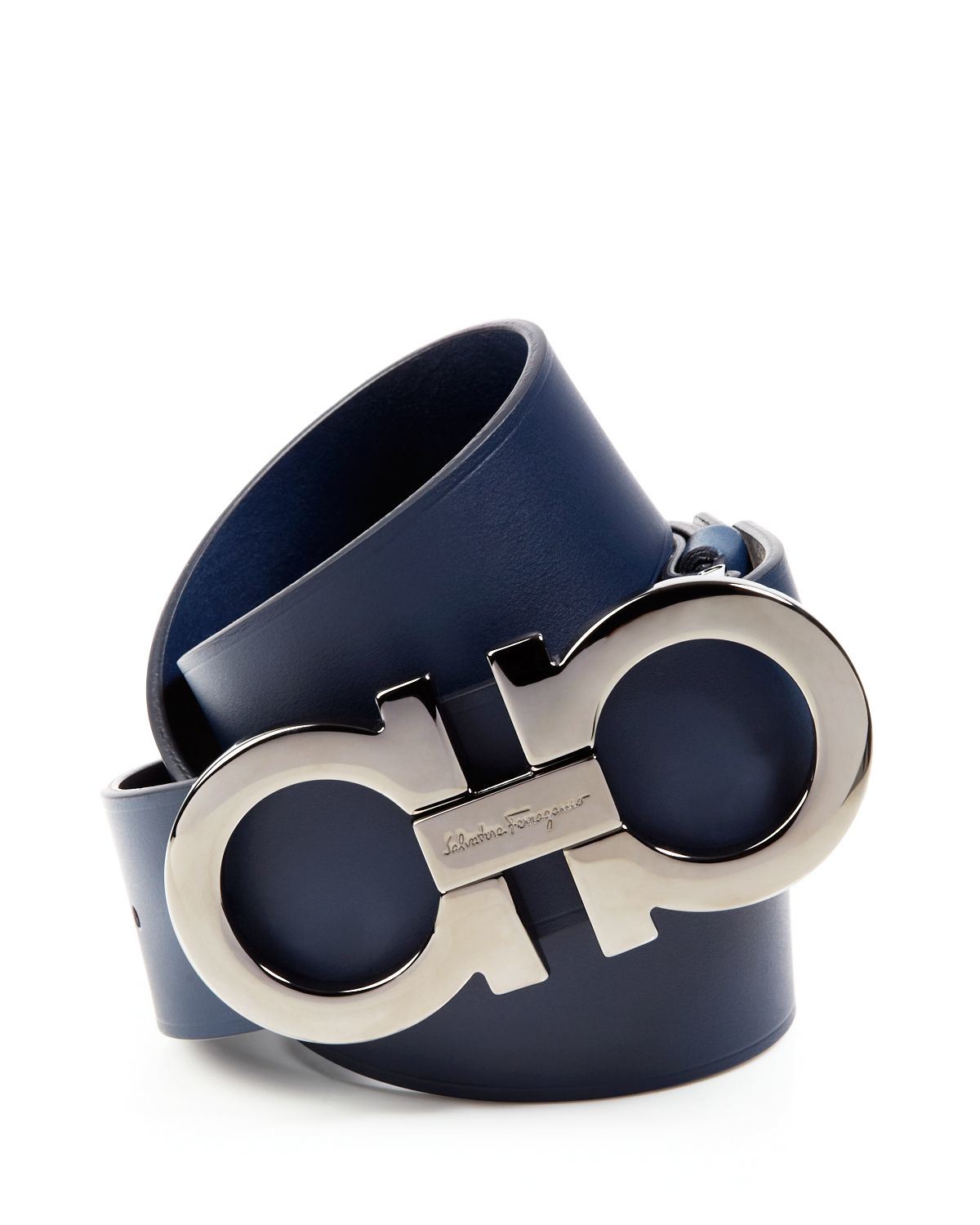 Ferragamo Leather Belt With Gancini Buckle In Blue For Men Lyst