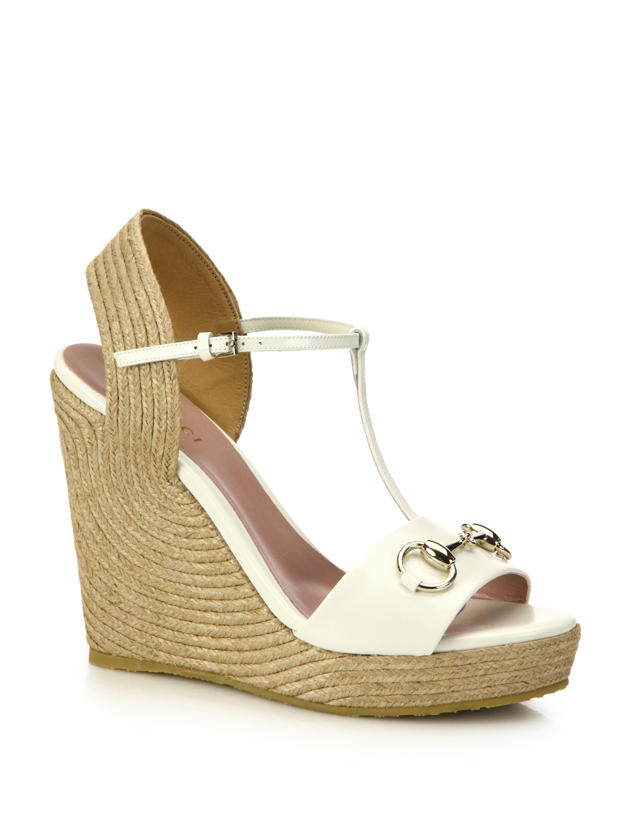 c75d3916b41 Lyst - Gucci Patent Leather Horsebit Espadrille Wedge Sandals in White