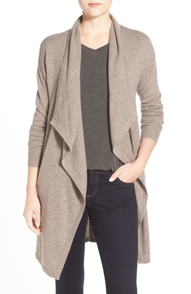 Halogen Cashmere Long Drape Front Cardigan in Brown | Lyst