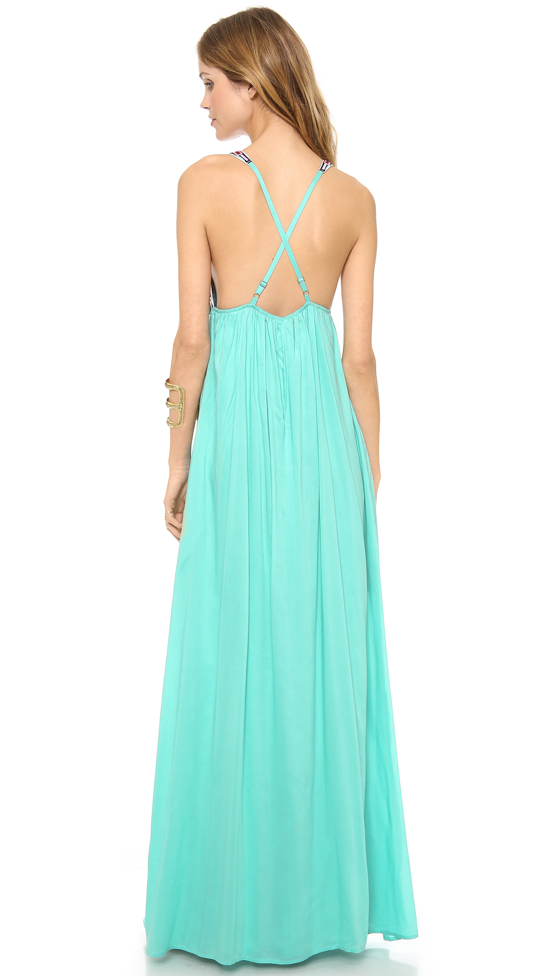 Mara hoffman Cosmic Fountain Embroidered Maxi Dress Turquoise in ...