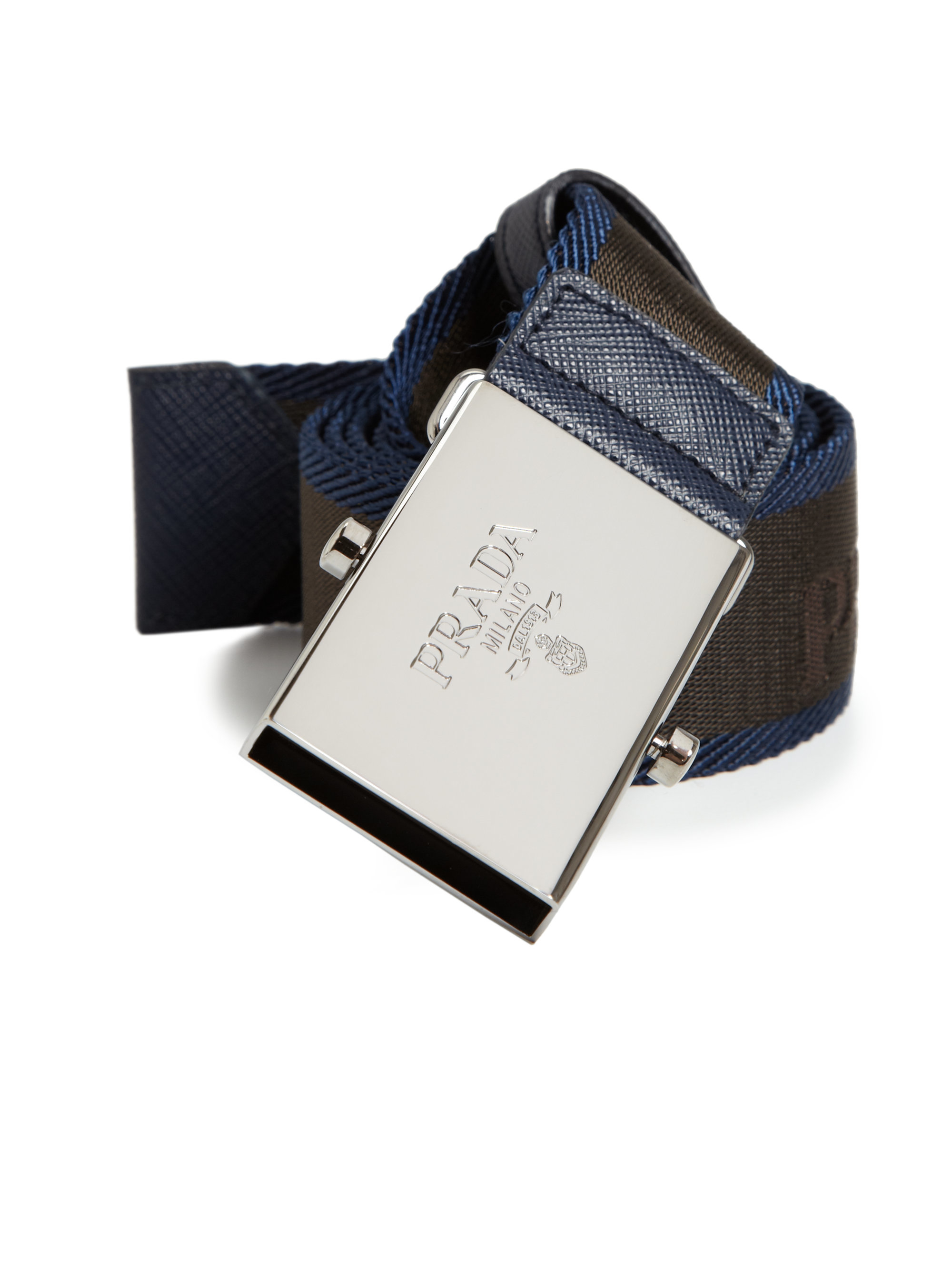 Prada Etched Saffiano Leather Belt in Blue for Men (navy) | Lyst