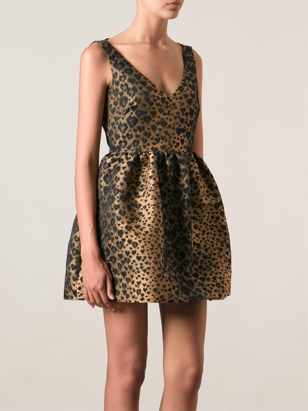 272e4724e6c2 RED Valentino Leopard Print Dress in Brown - Lyst
