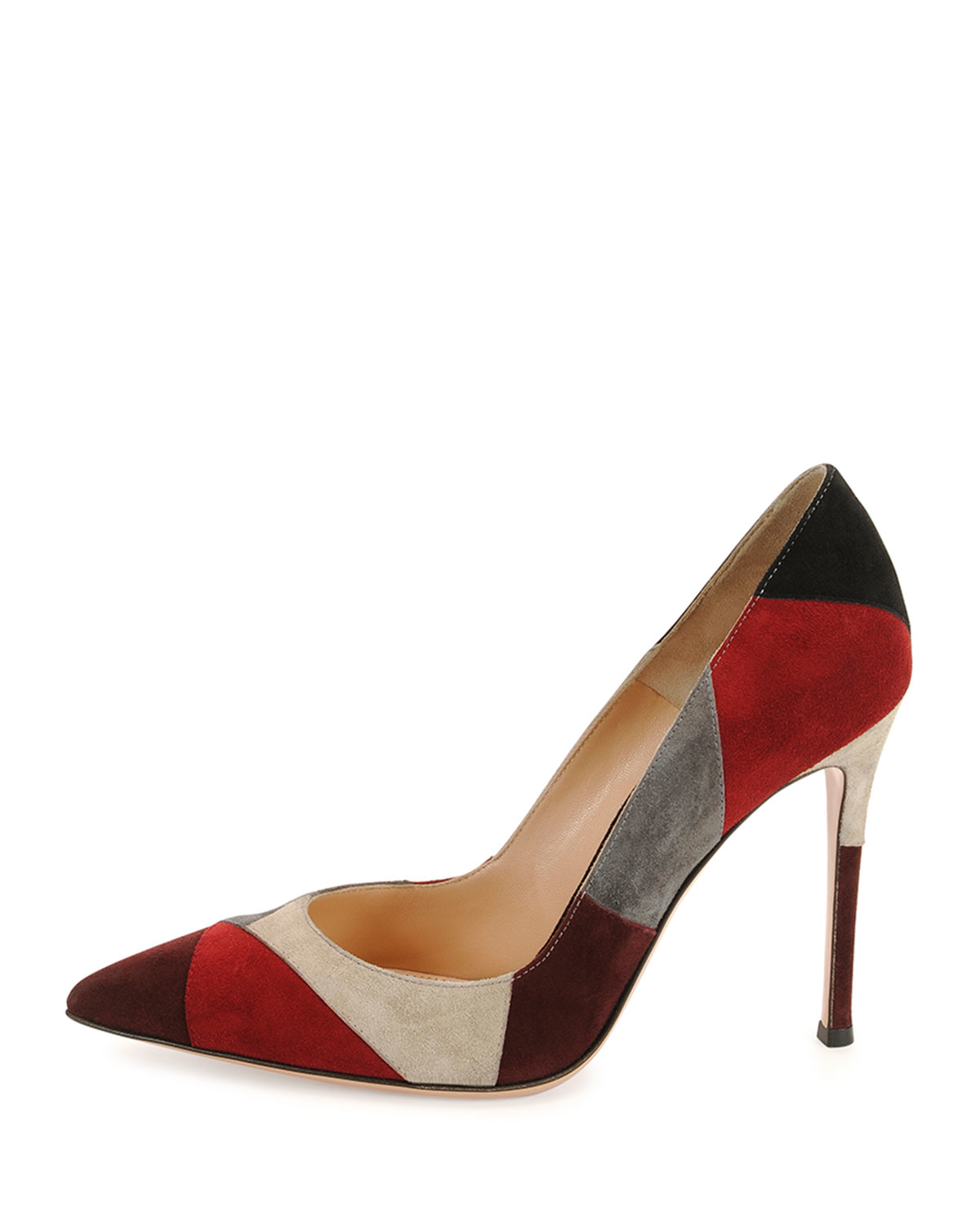 1f50fade7777 Lyst - Gianvito Rossi Patchwork Suede Point-Toe Pumps