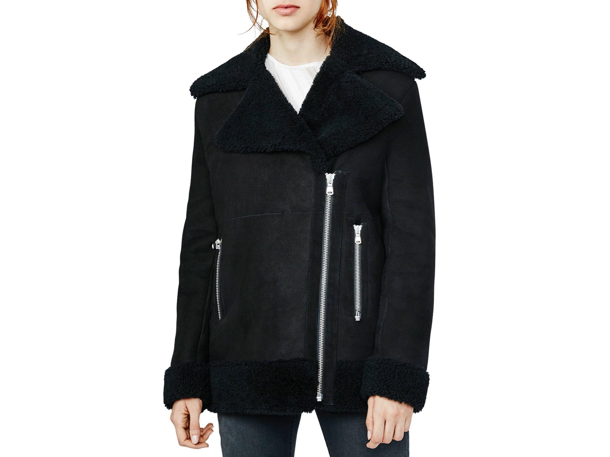 Maje Glavering Shearling Coat in Black | Lyst