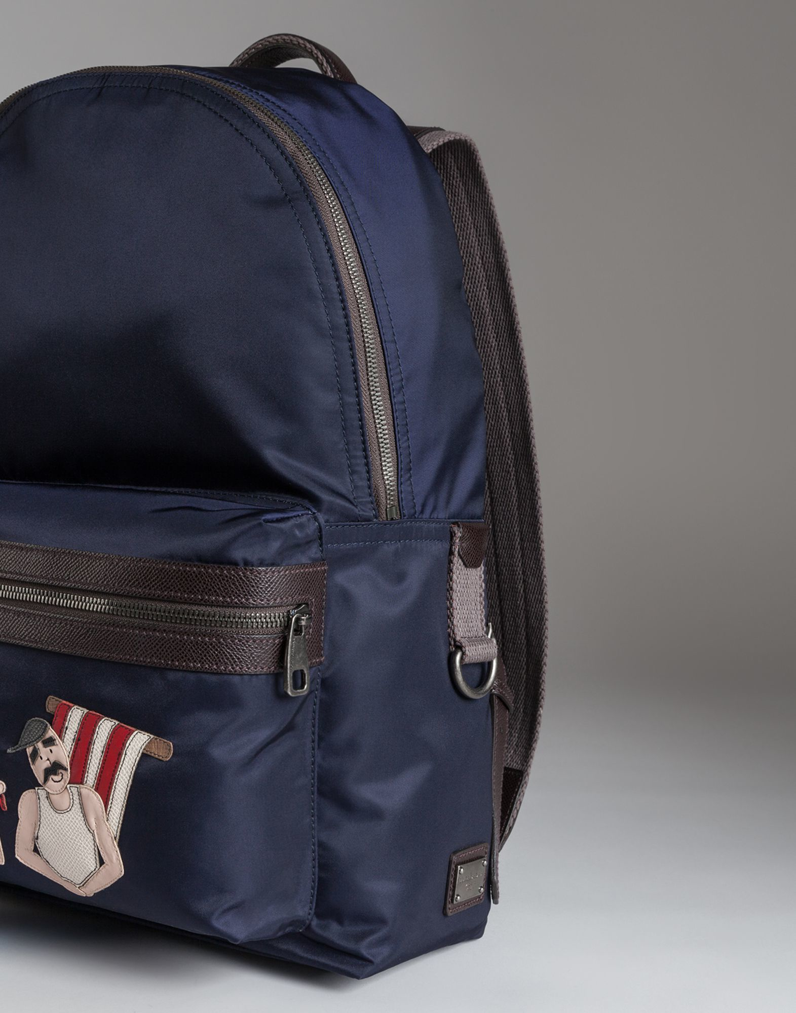 Mens Blue Classic Backpack  sale retailer 65816 bcf96 Dolce Gabbana Vulcano  Backpack In Nylon With Appliqués in Blue for Men ... ec71f037e0