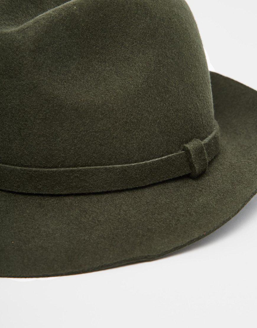 Asos Fedora Hat In Khaki Felt In Green For Men Lyst