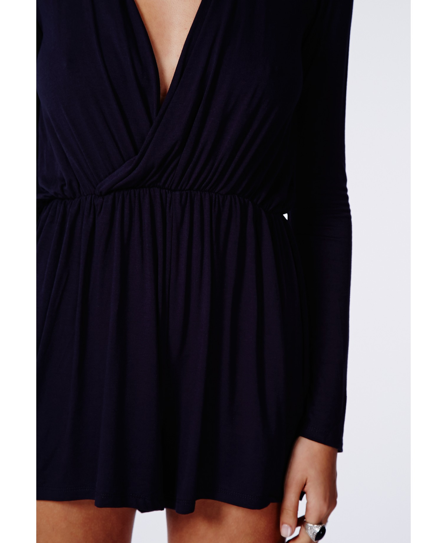 27b3103cc49 Missguided Migle Plunge Neck Romper In Navy in Blue - Lyst