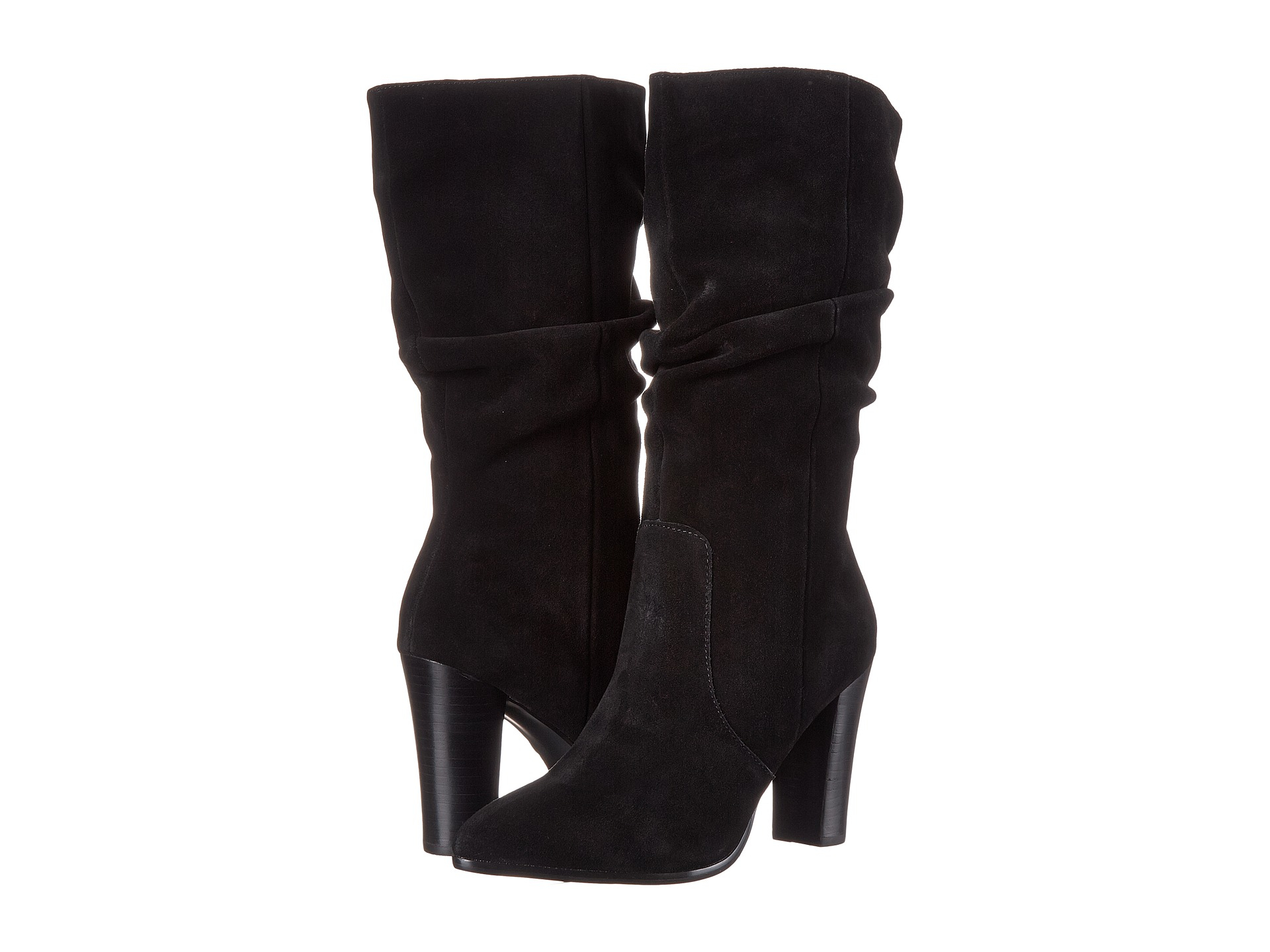 tahari alanna suede slouchy mid calf boots in black lyst