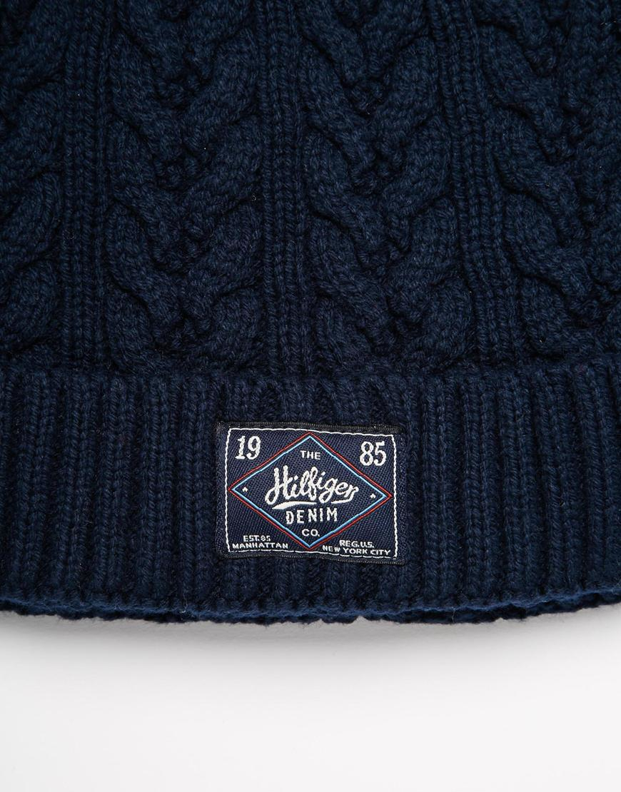 1a160a9d252 Tommy Hilfiger Fargo Beanie Hat in Blue for Men - Lyst