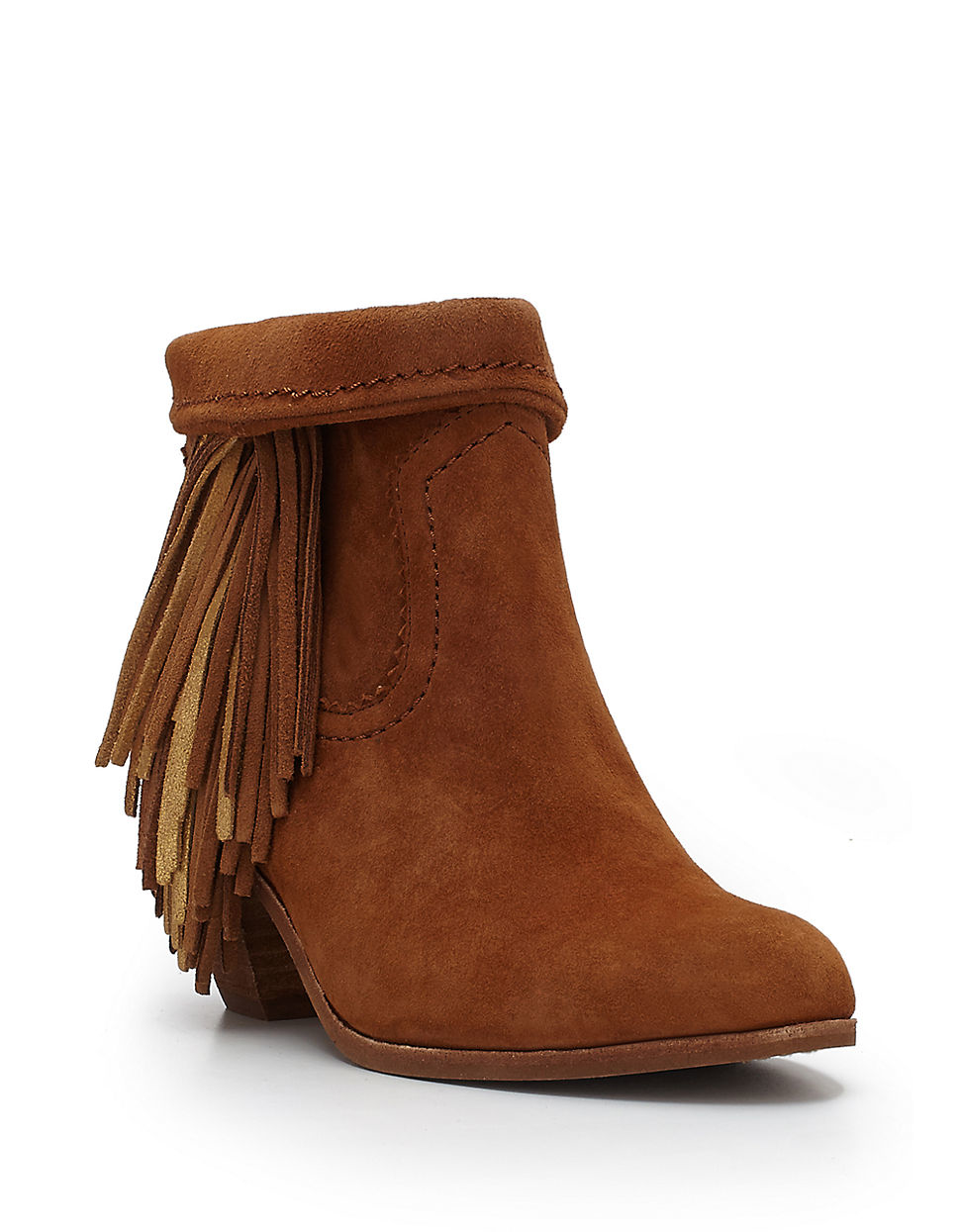 2685a7de50eccc Sam Edelman Louie Fringed Suede Ankle Boots in Brown - Lyst