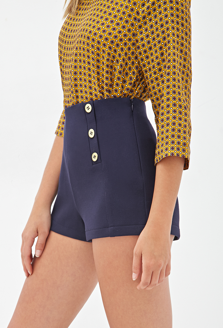 Lyst - Forever 21 High-Waisted Sailor Shorts in Blue