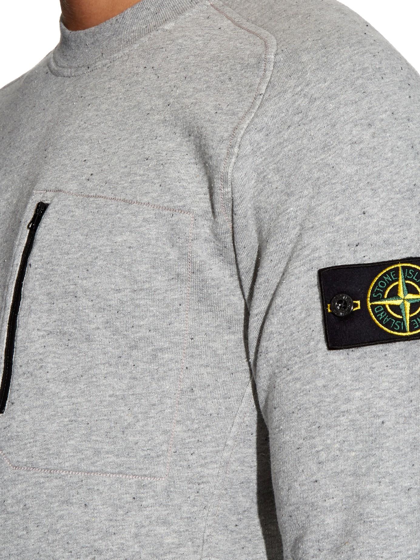 Lyst Stone Island Zip Pocket Cotton Fleece Sweatshirt In