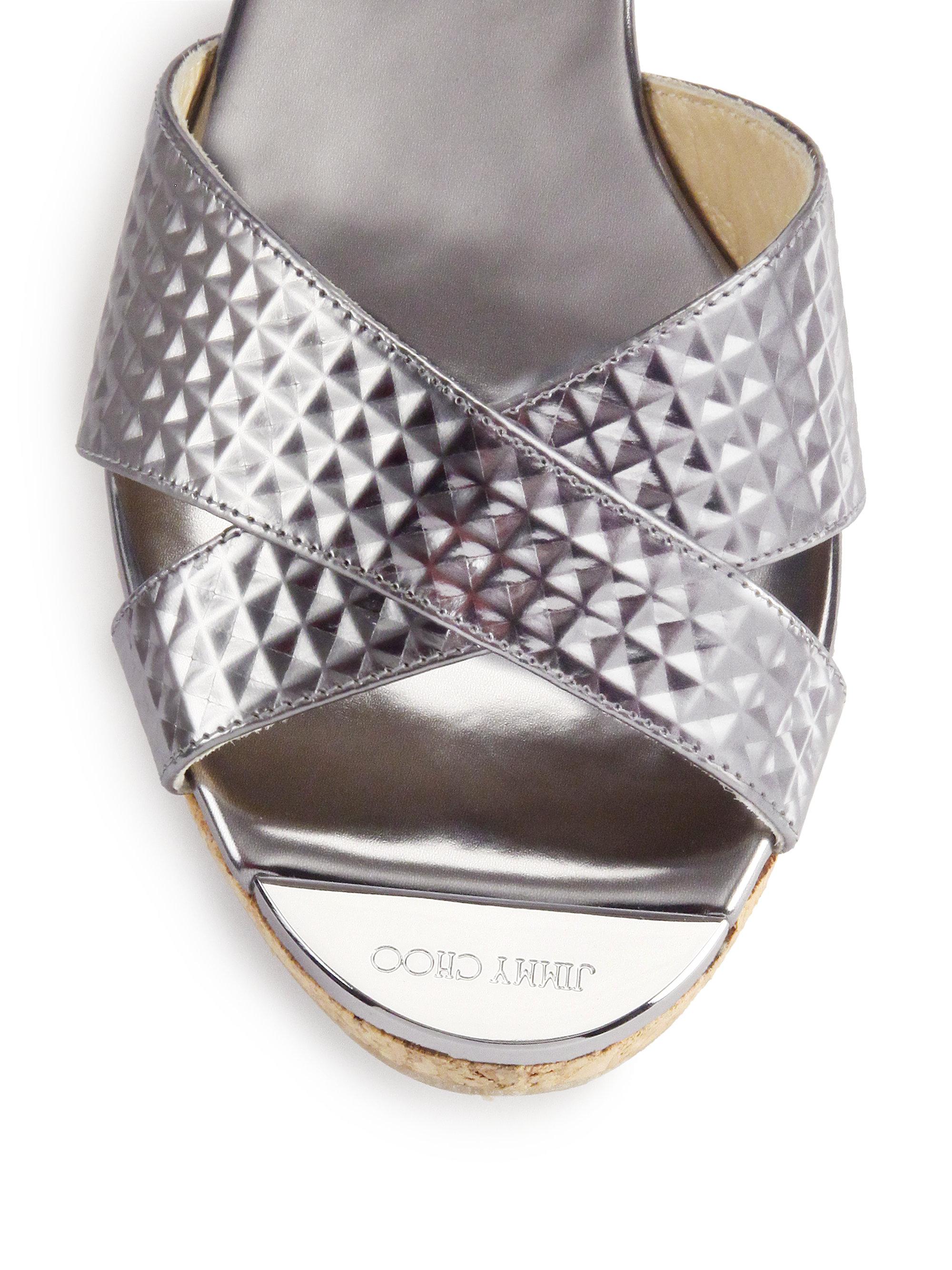 Jimmy Choo Panna Textured Metallic Leather Amp Cork Sandals